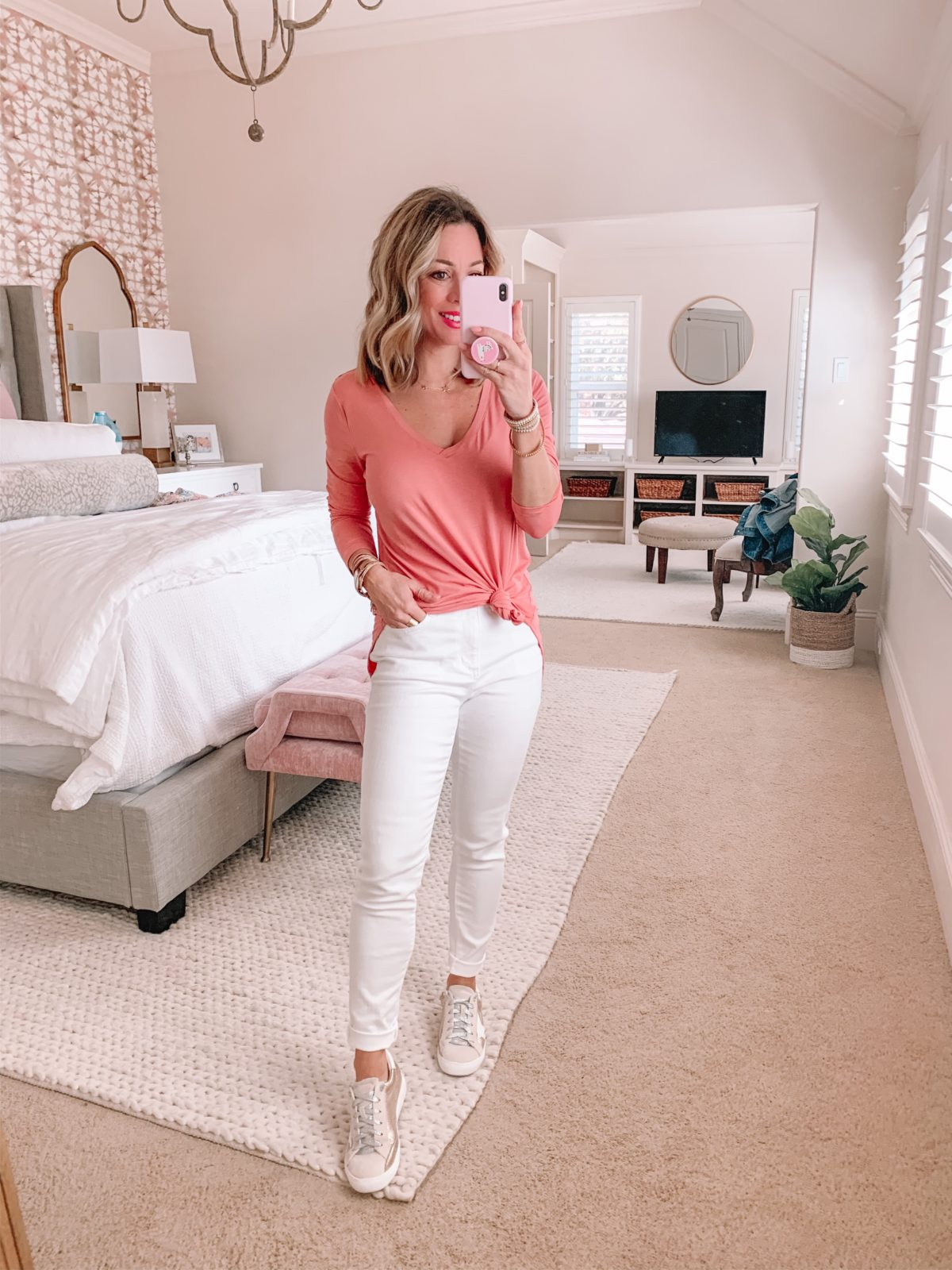 Pink V-Neck Long Sleeved Tunic Tee, White Jeans, Golden Goose Dupe sneakers