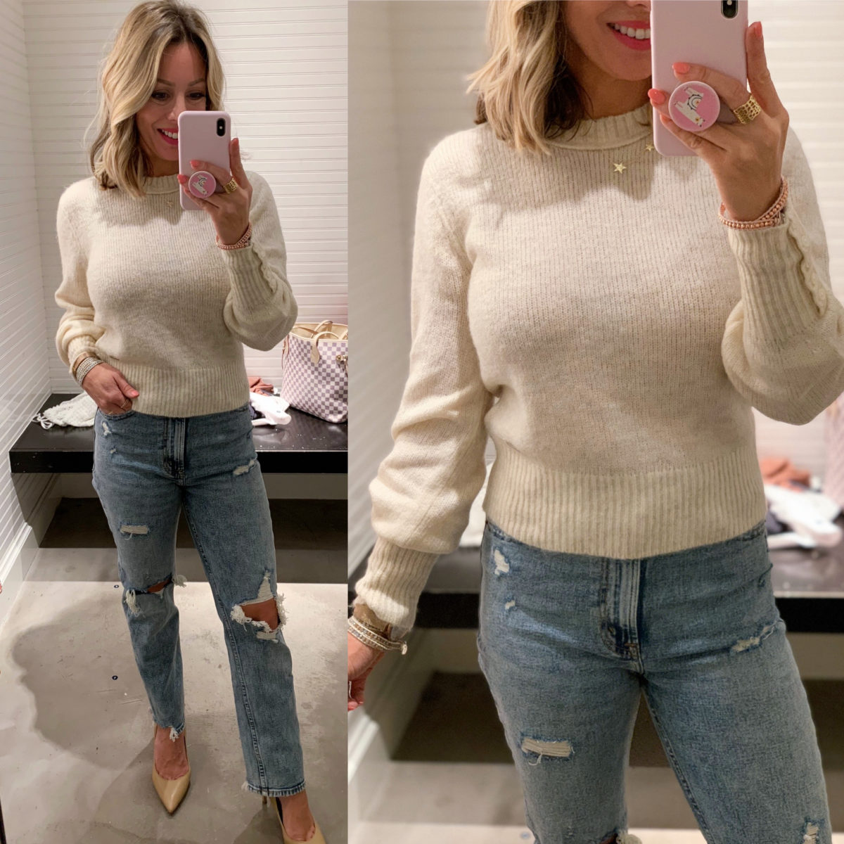 Abercrombie jeans, Cream Crewneck Sweater with Button Sleeve, Nude Heels