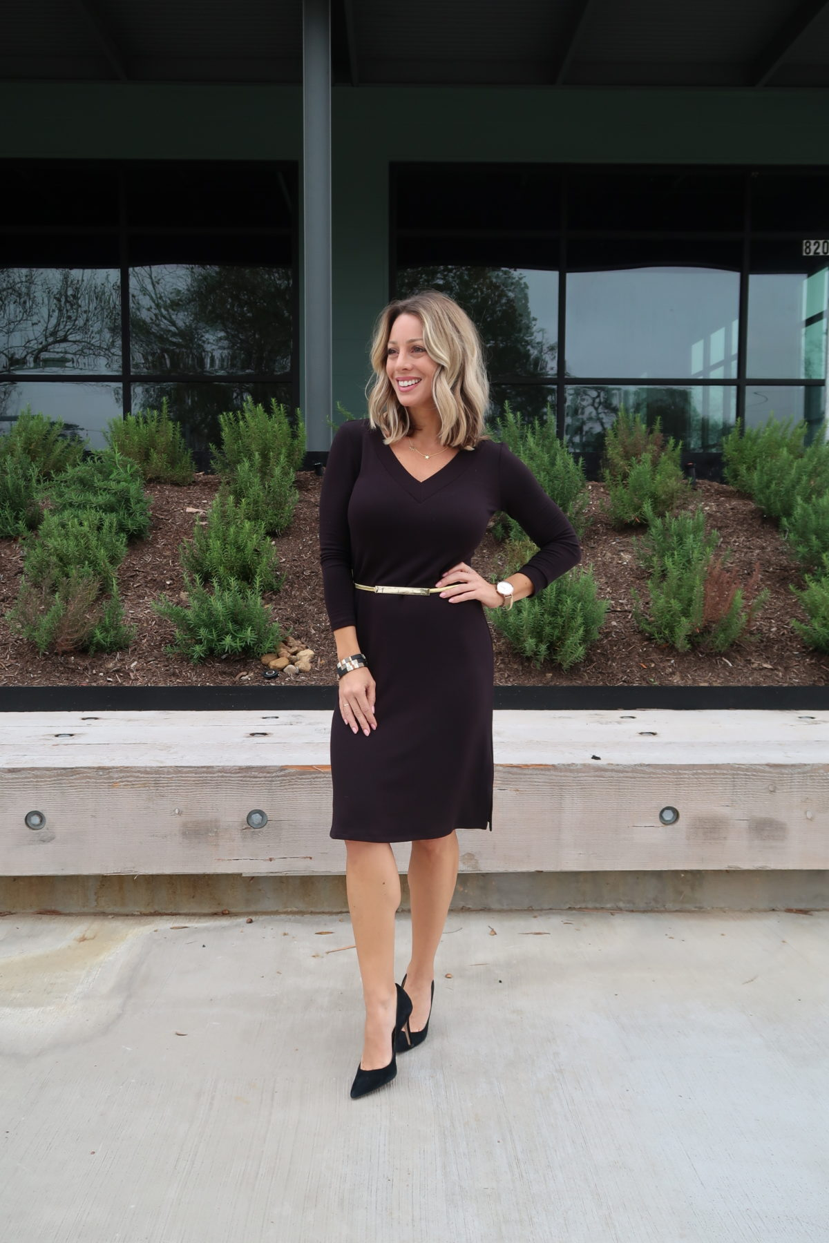 Long Sleeve Knit Dress, Black Heels, Gold Belt