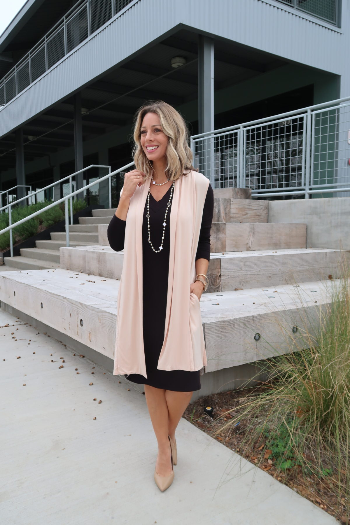 Pink Cardigan, Black Dress, Pearl Clover Necklace, Nude Heels