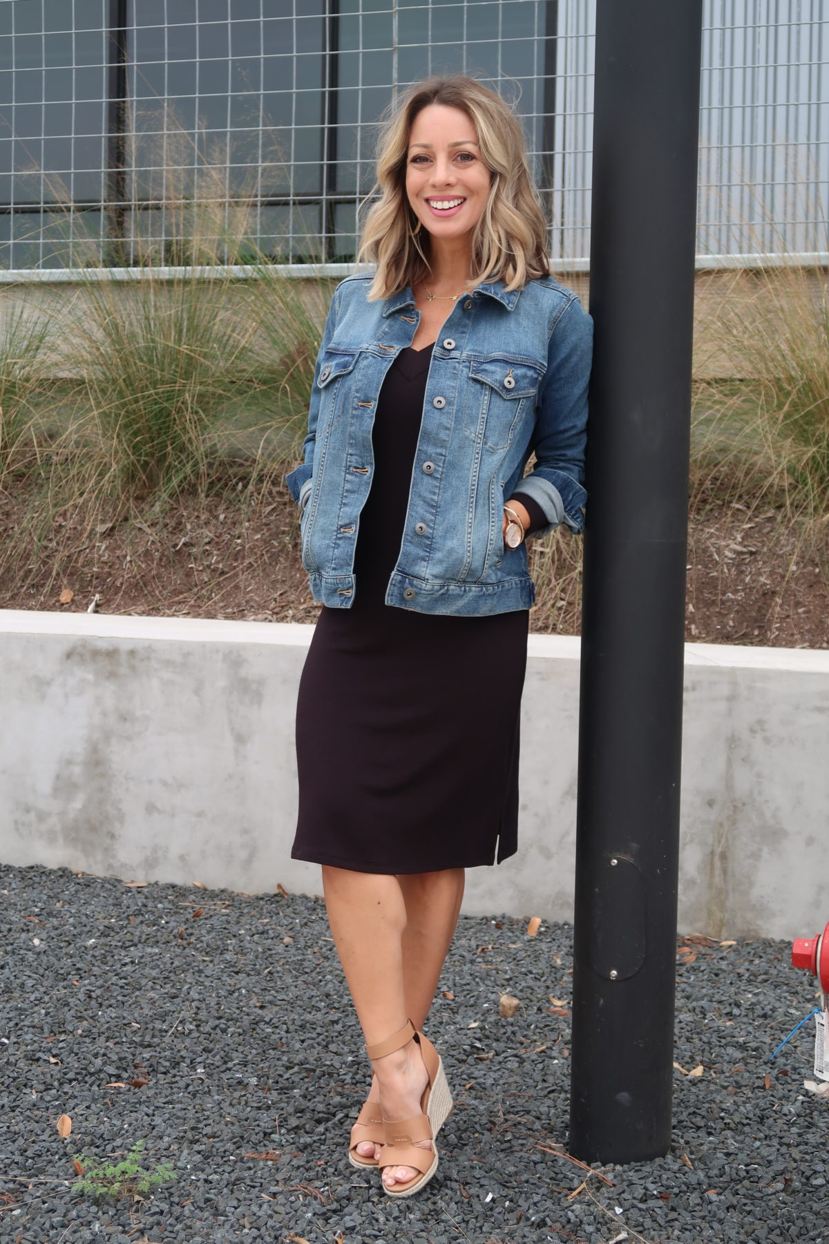 Jean Jacket, Black Dress, Wedge Sandals