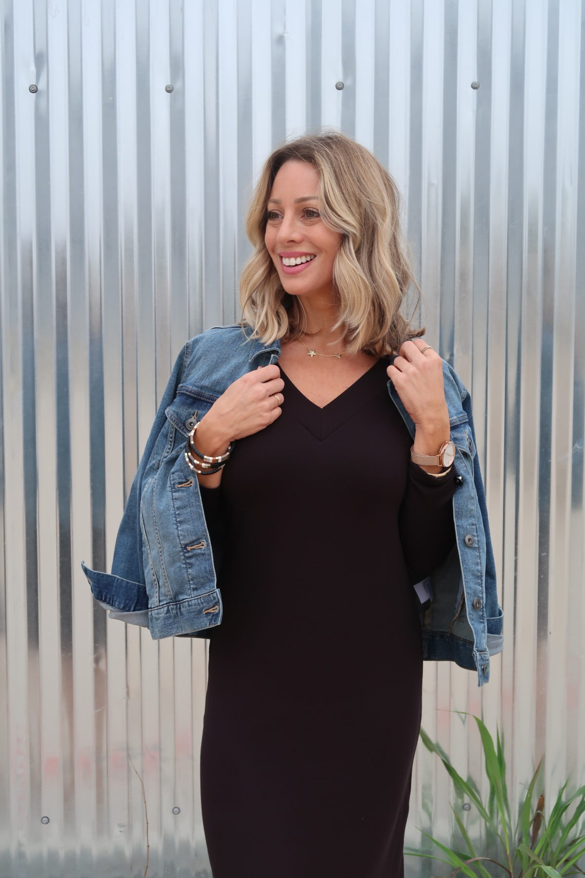 Jean Jacket, Black Dress, Star Necklace