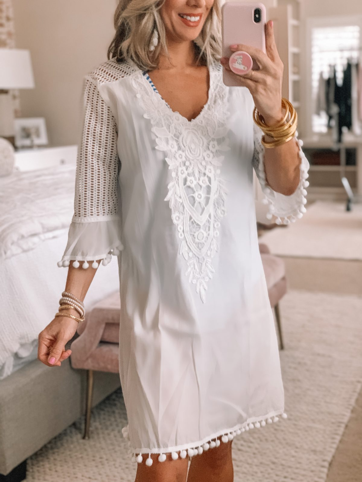 White Lace PomPom Beach Coverup