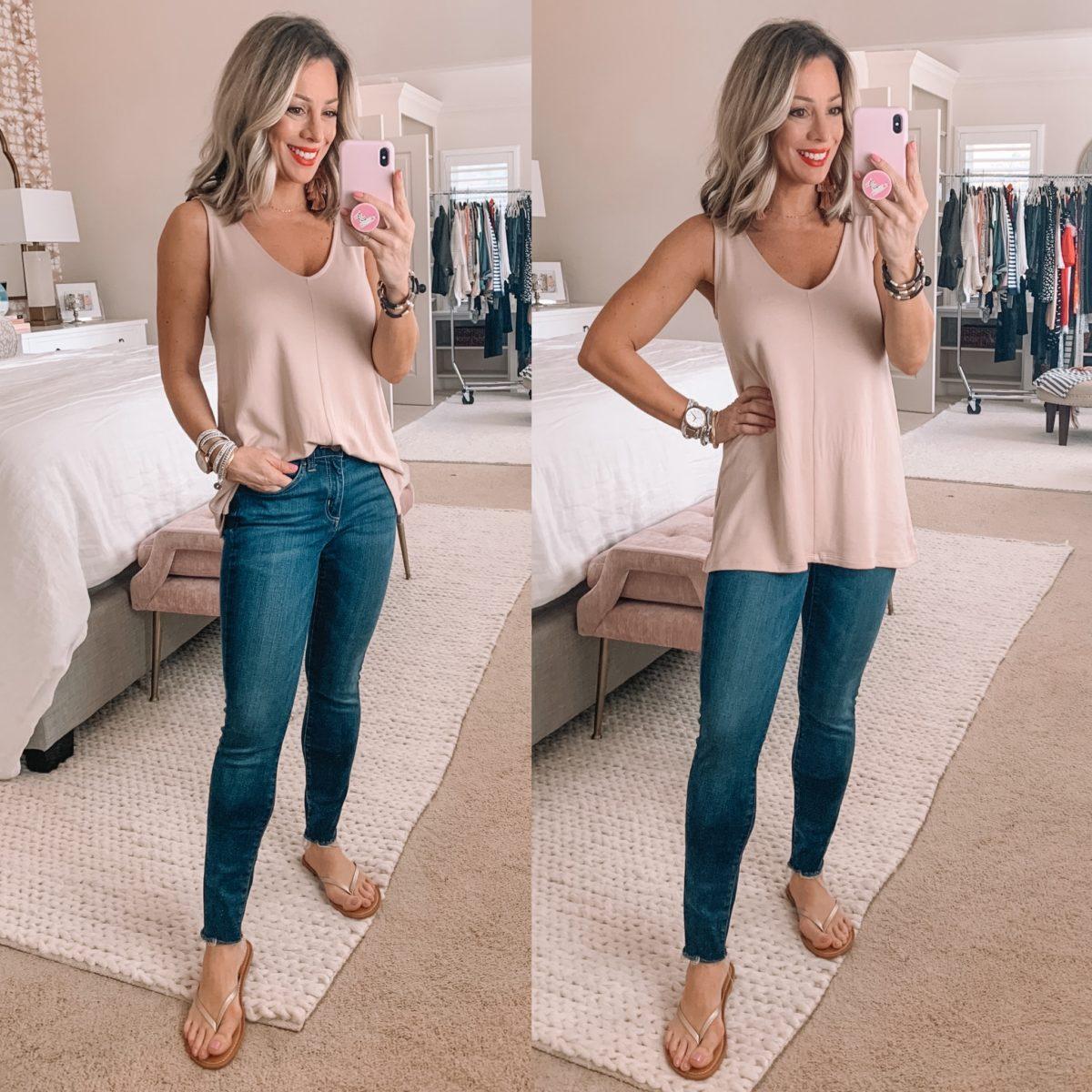 Pink Tank Top, Daily Ritual Skinny Jeans, Skinny Flip Flops