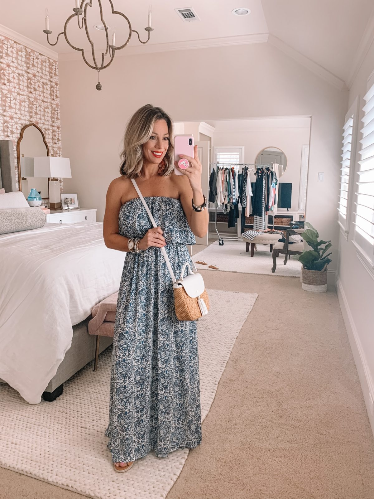 Off Shoulder Blue and White maxi Dress, Woven Crossbody