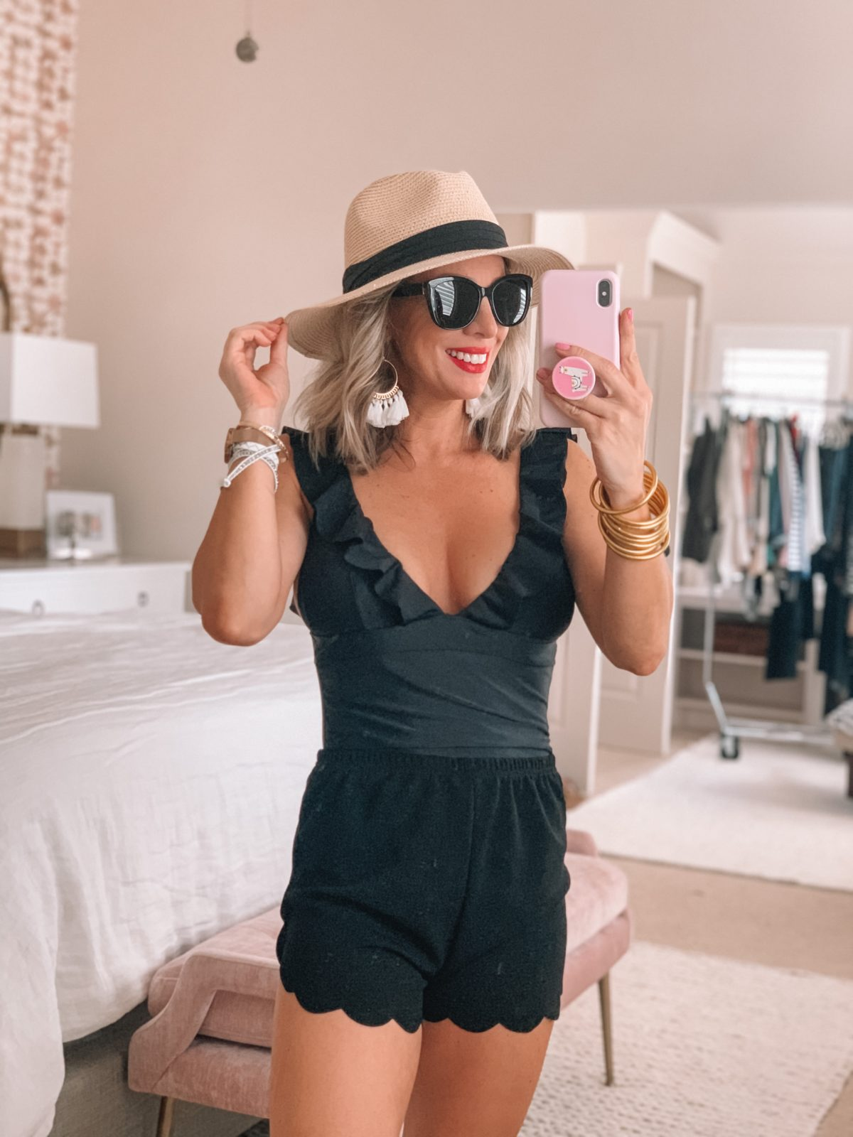 Beach Hat, Black Ruffle Bathing suit, Scalloped Shorts