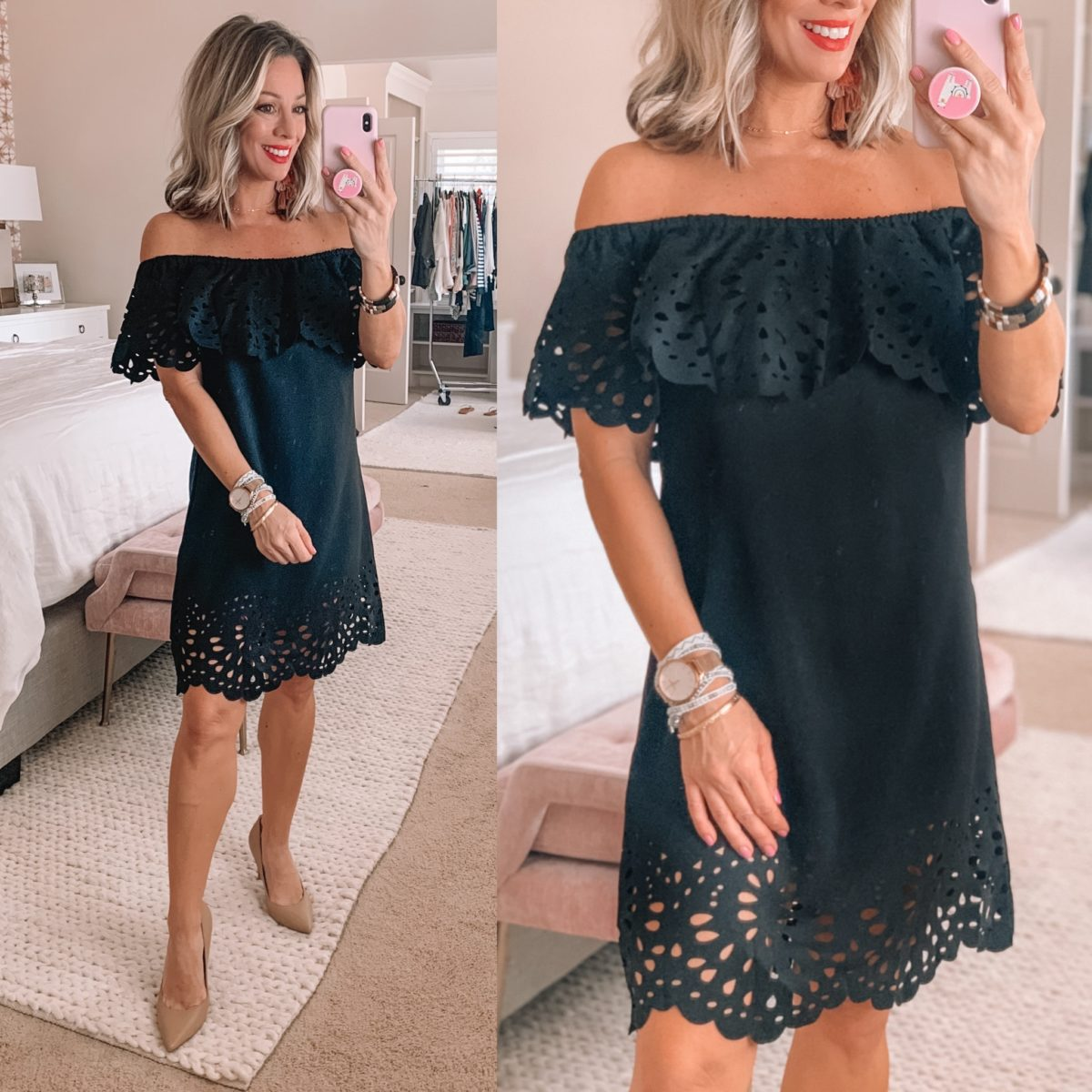Laser cut Off Shoulder Black Mini Dress, Nude Heels