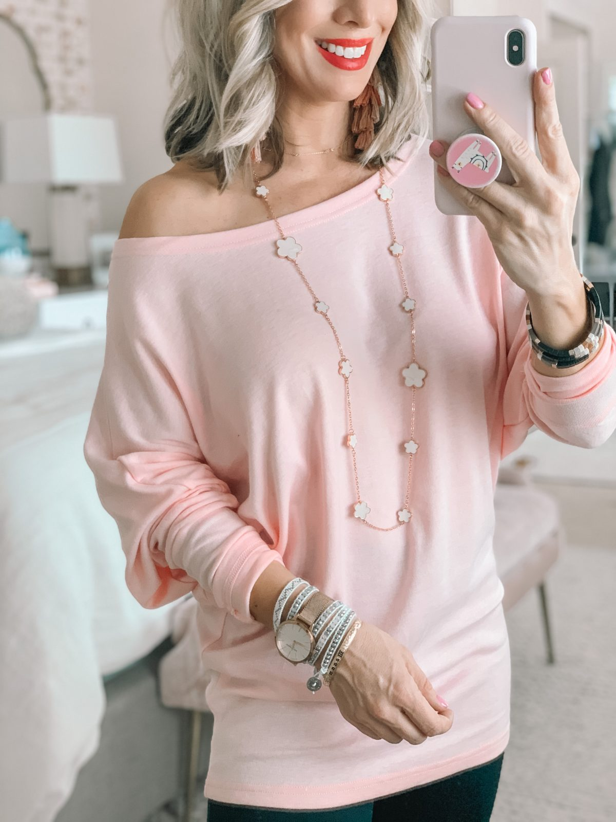 Pink Tunic Top, Clover Necklace