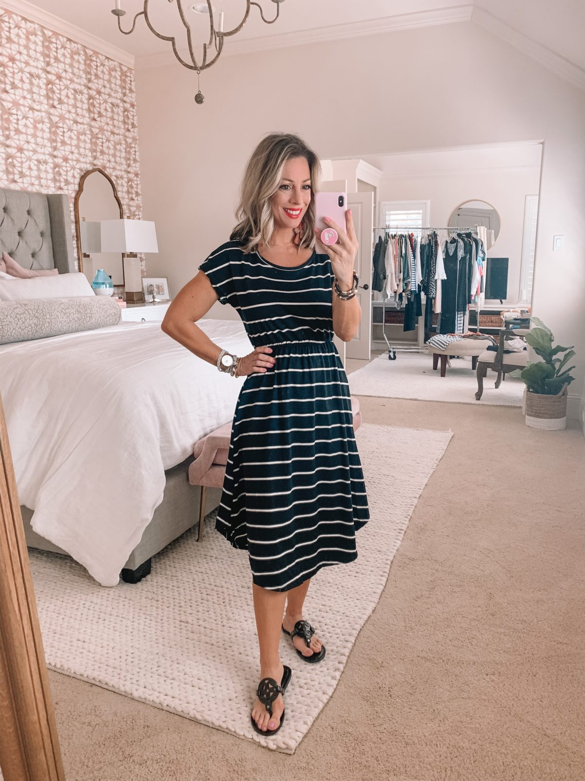 Black and white Stripe tee shirt Dress, Miller Dupe Sandals