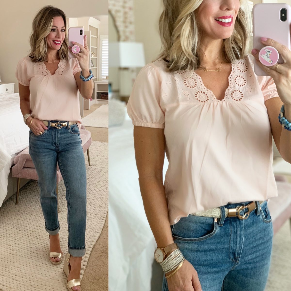 Embroidered Puff Sleeve Top, Jeans, Gold Bet, Gold Wedges