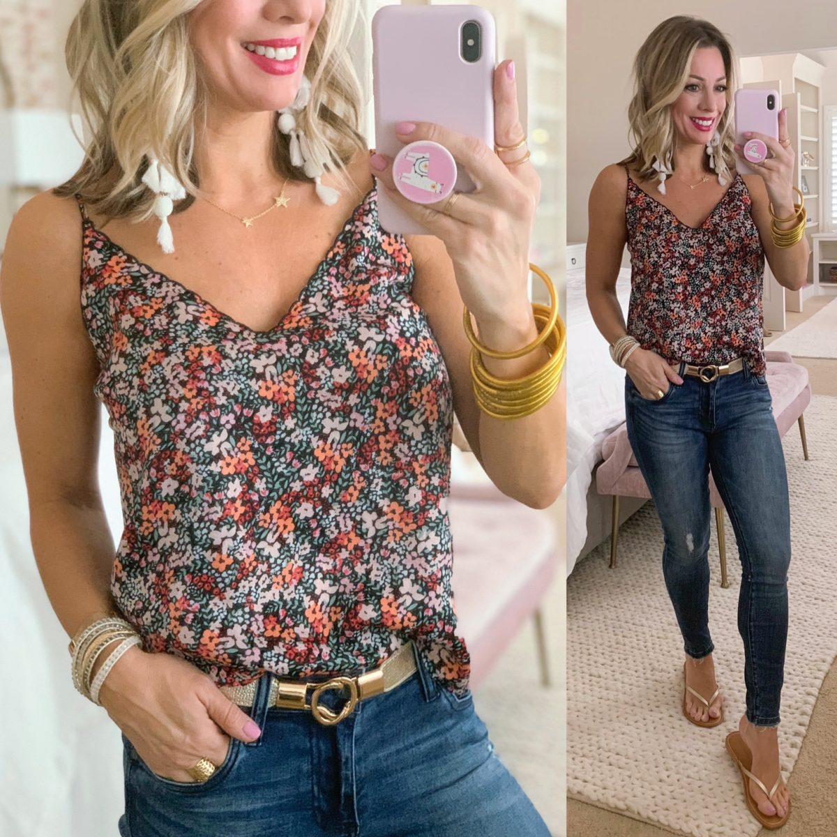 Floral Print Cami, Gold Bet, Kut from KLOTH jeans, Gold Flip Flops