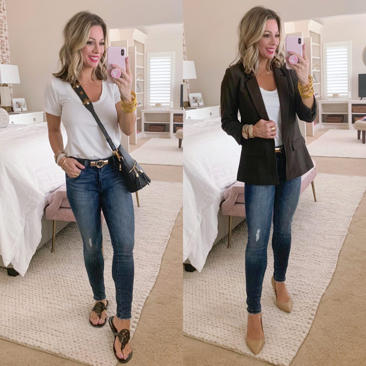 Scoop Neck Tee, Kut from KLOTH Jeans, Duper Sandals, Blazer, Heels