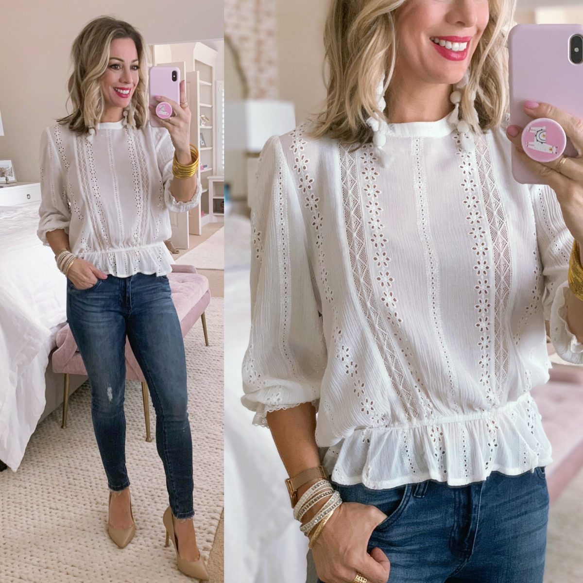 Lace Peplu Top, Kut from Kloth Jeans, Heels