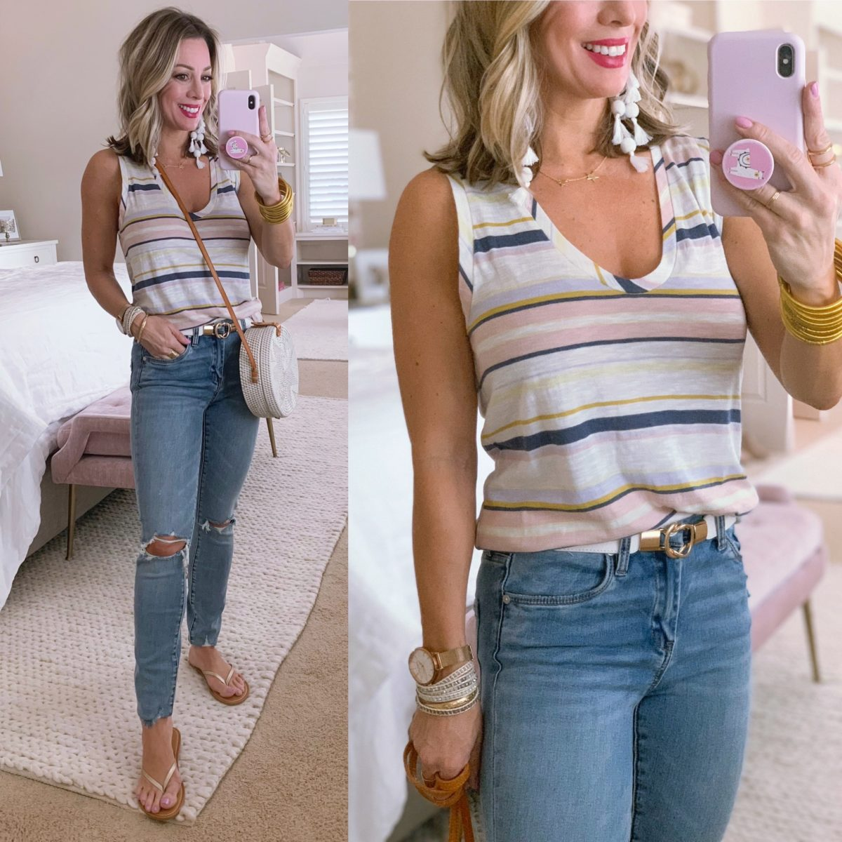 Caslon Stripe Tank V-neck, Distressed Skinny Jeans, Gold Flip Flops, woven Crossbody bag