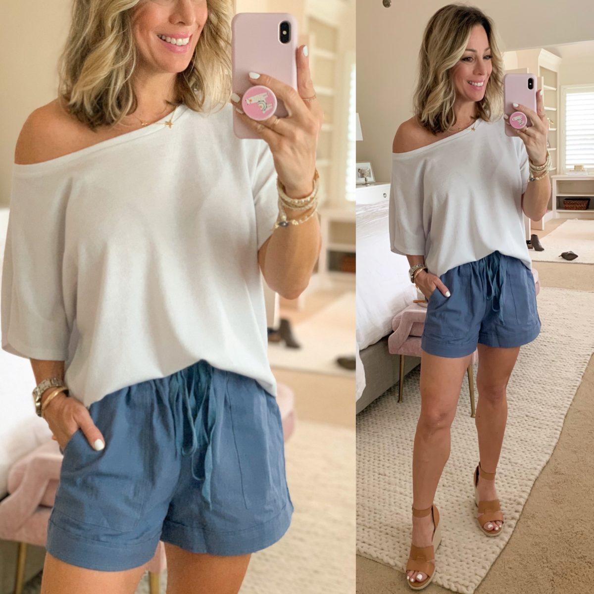Off Shoulder White Top, Linen Shorts, Wedges