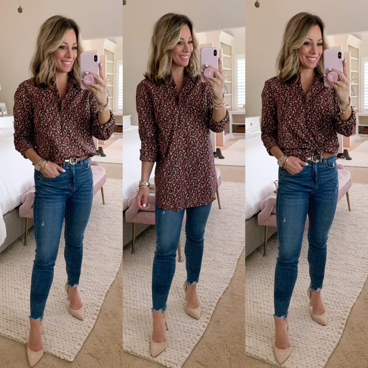 Floral Blouse Tunic, Skinny Jeans, Pale Pink Heels