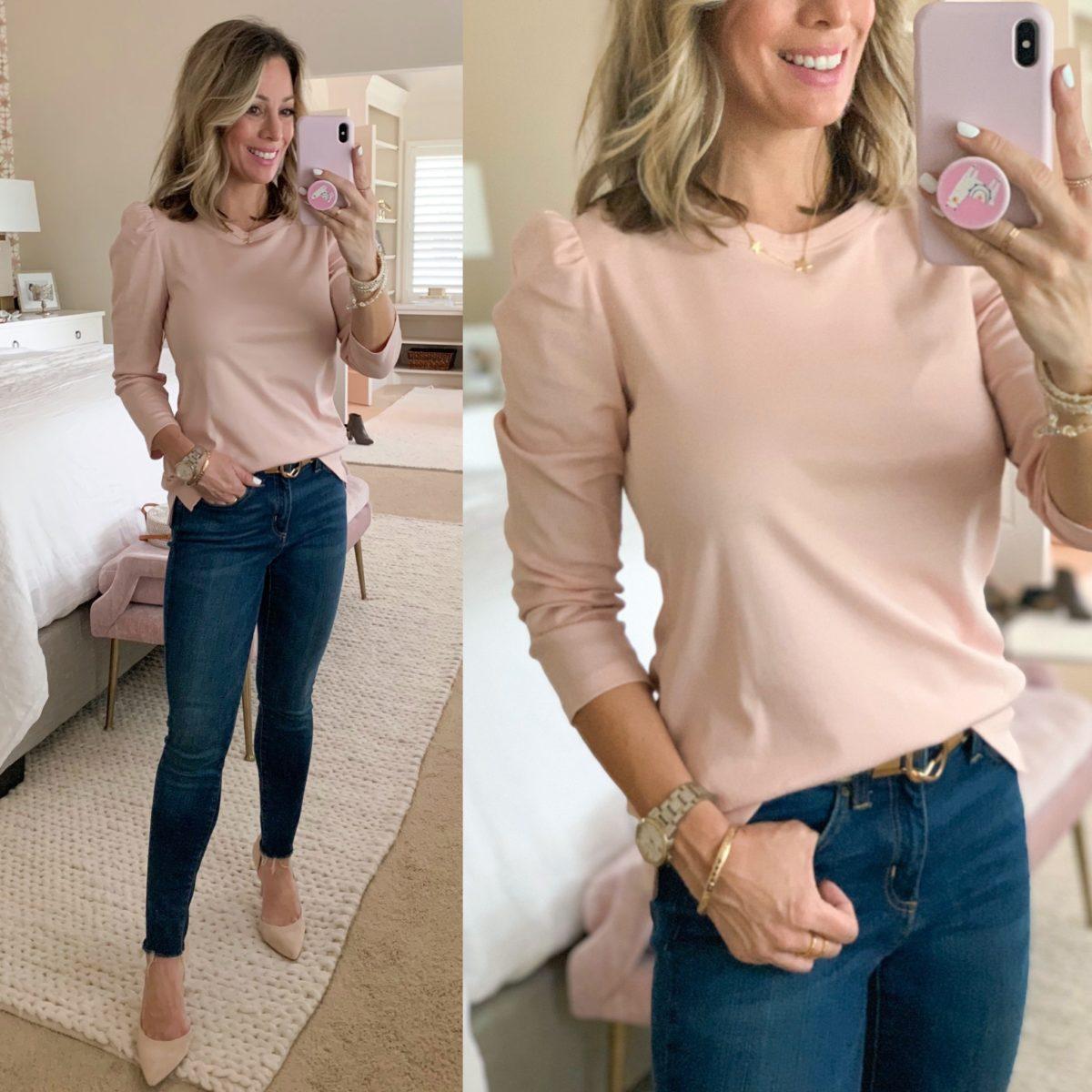 Pink Puff Sleeve Top, Skinny Jeans, Pale Pink Heels