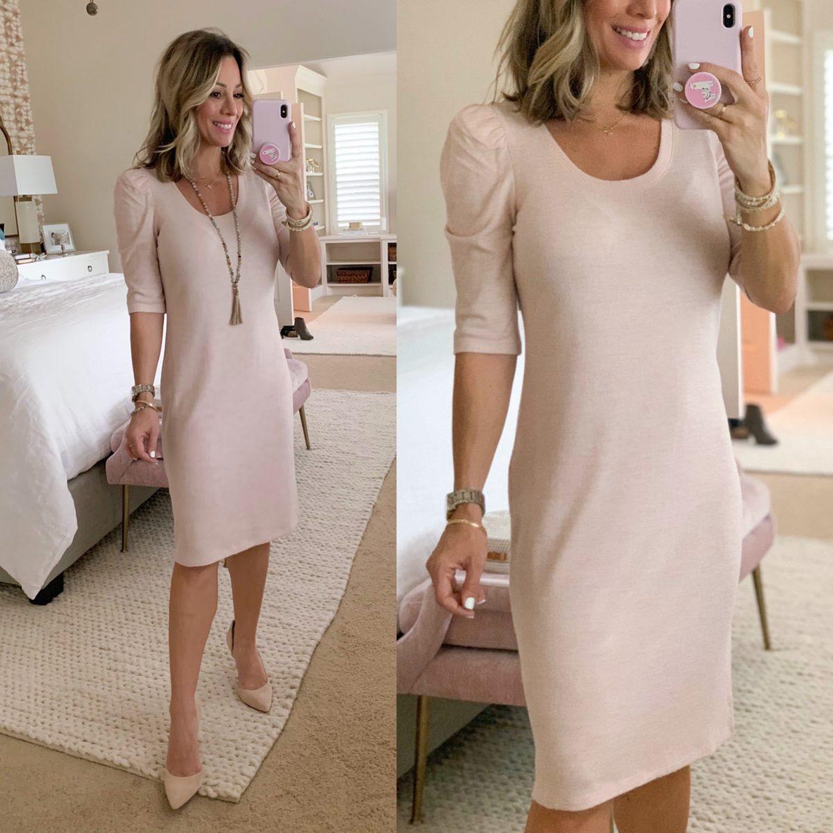 Puff Sleeve Scoop Neck Dress, Pale Pink Heels, Beaded Tassel Necklace