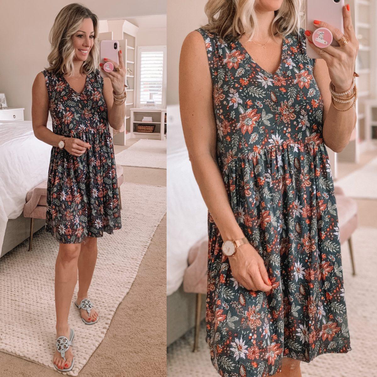 Floral Shift Dress, Miller Sandals