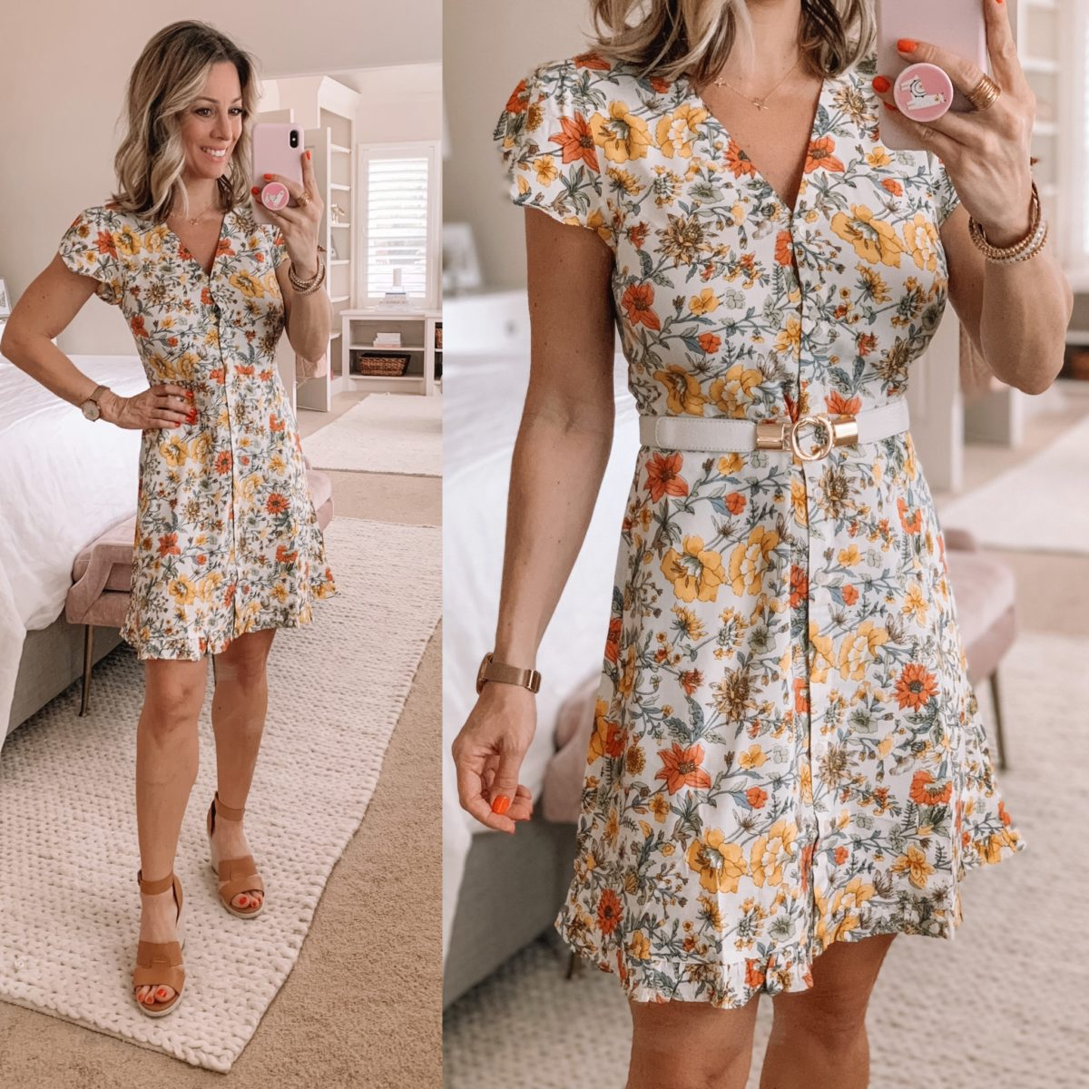 Floral Dress, Wedges, White and Gold Belt