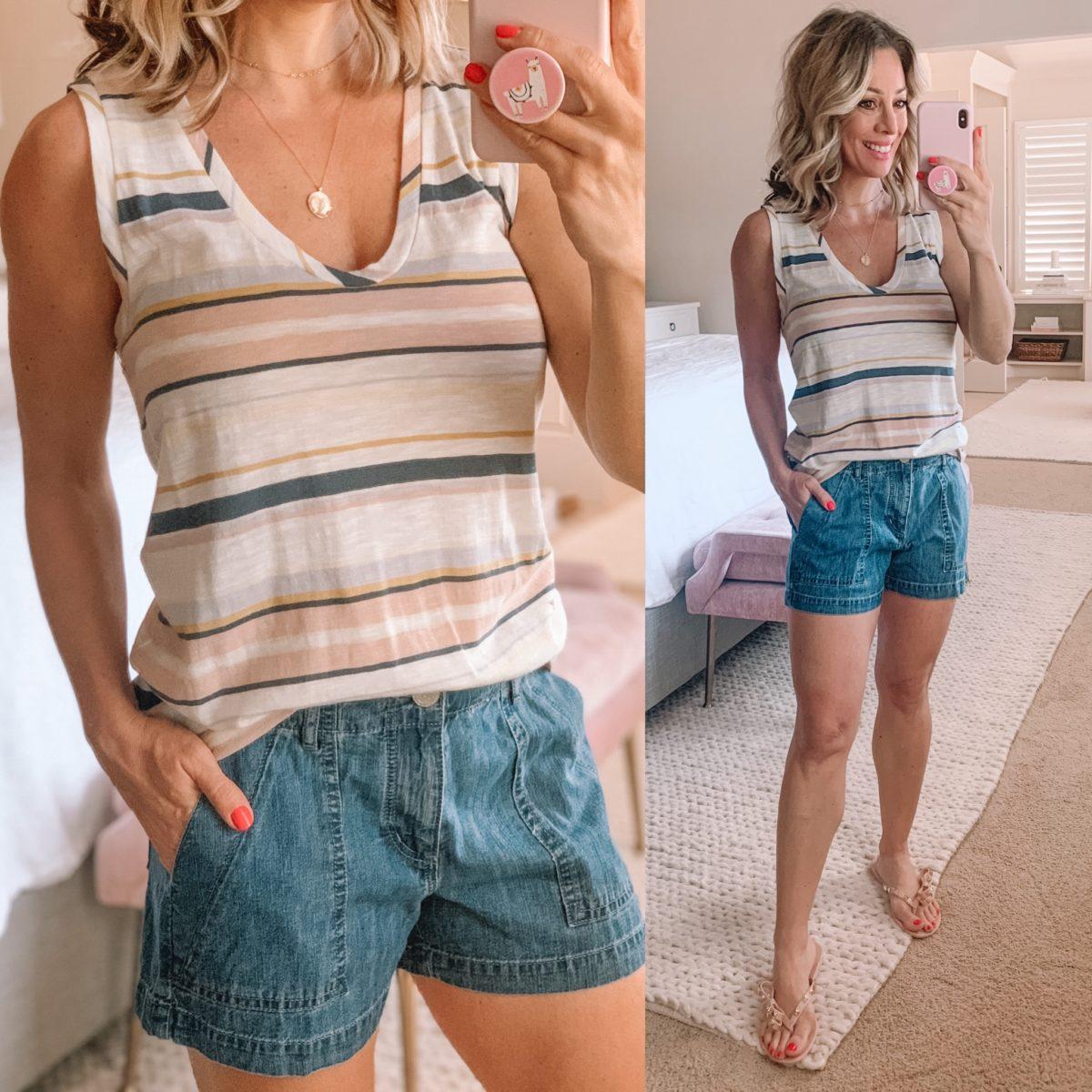 Striped Tank, Denim Jean Shorts, Studded Flip Flops
