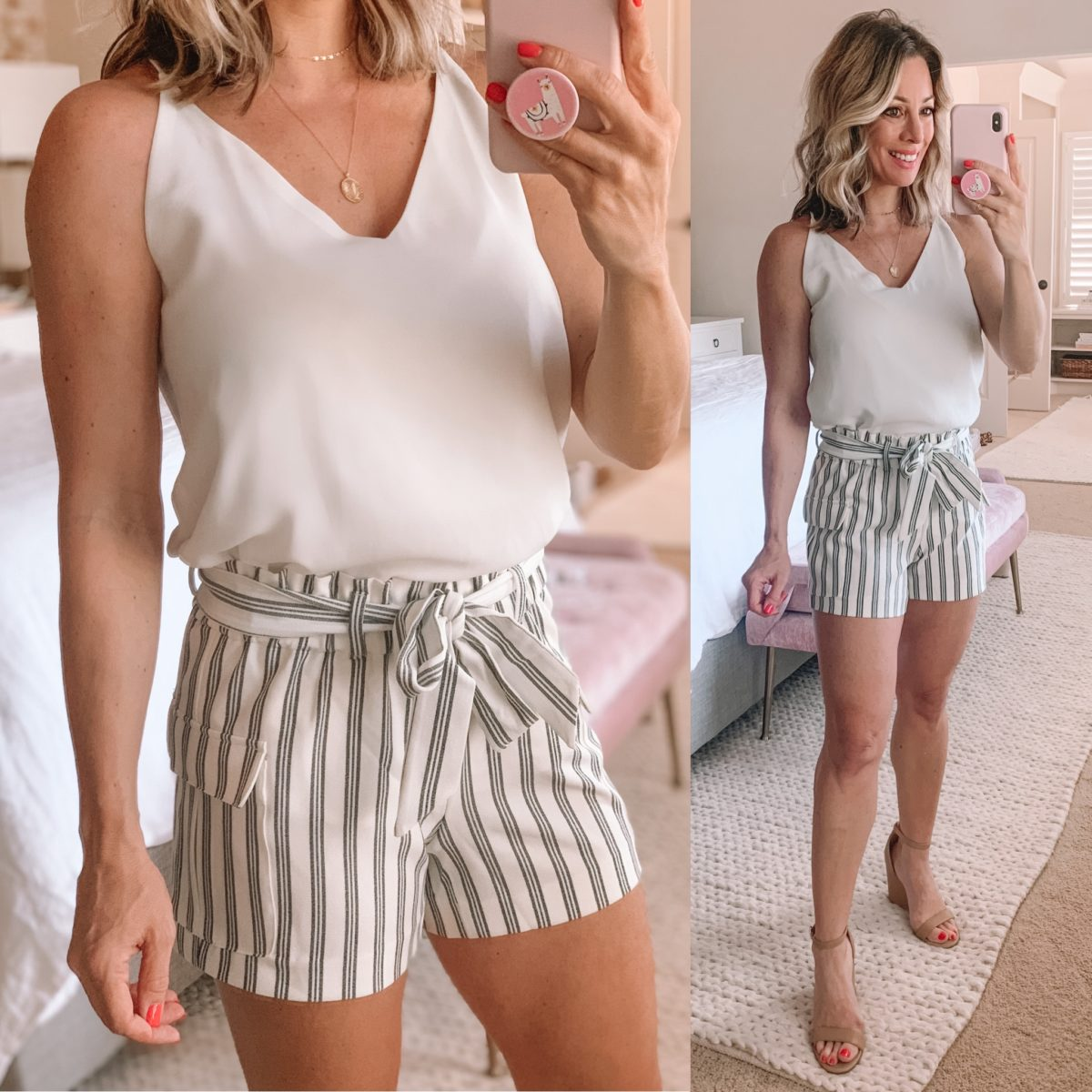 White Tank, Paper Bag Waist Striped Shorts, Nude Wedge Sandals