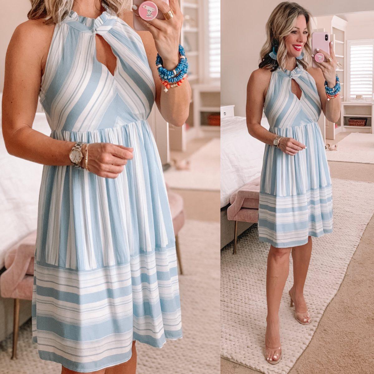 Striped Midi Dress, Clear Heels