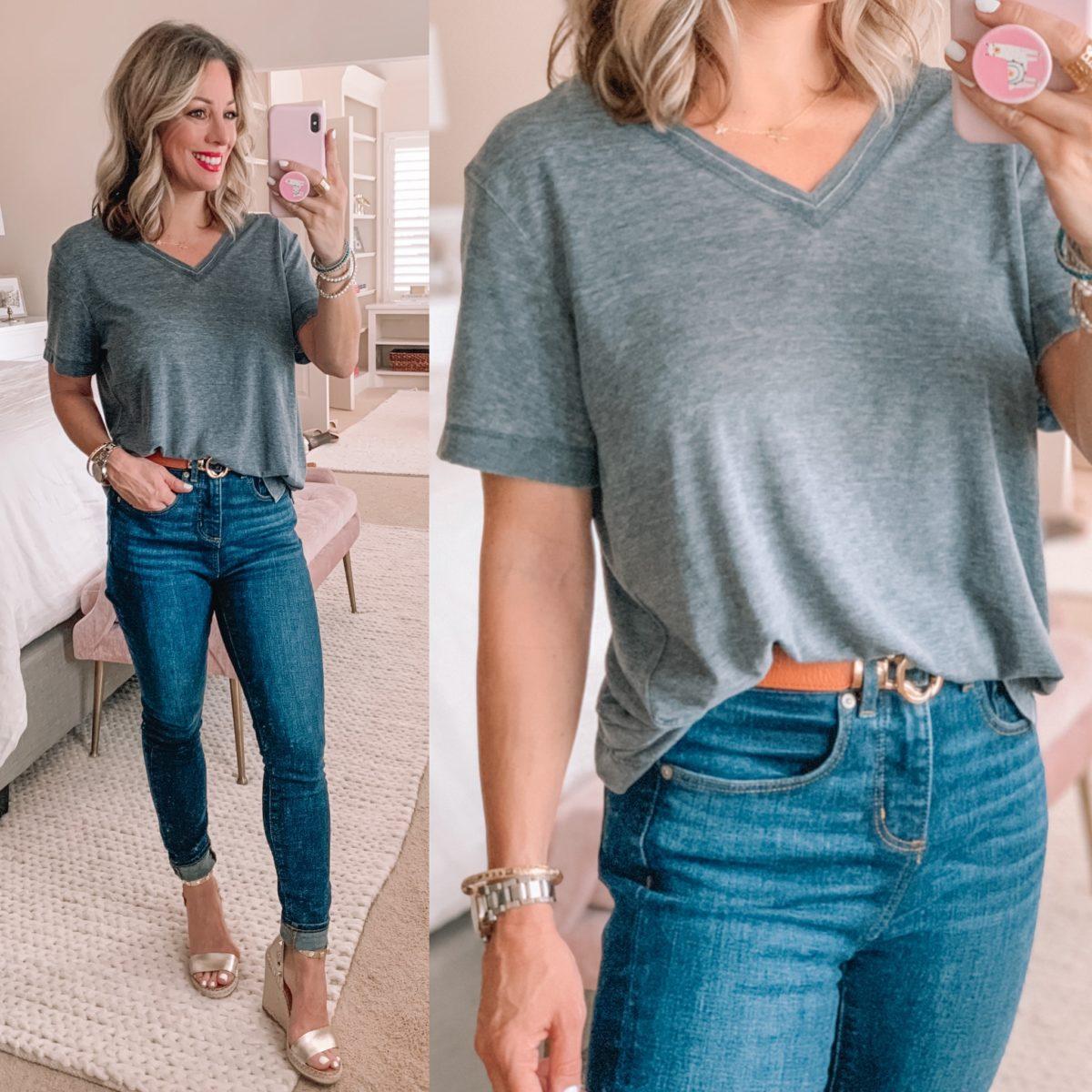 Grey Tee, Skinny Jeans, Gold Wedges