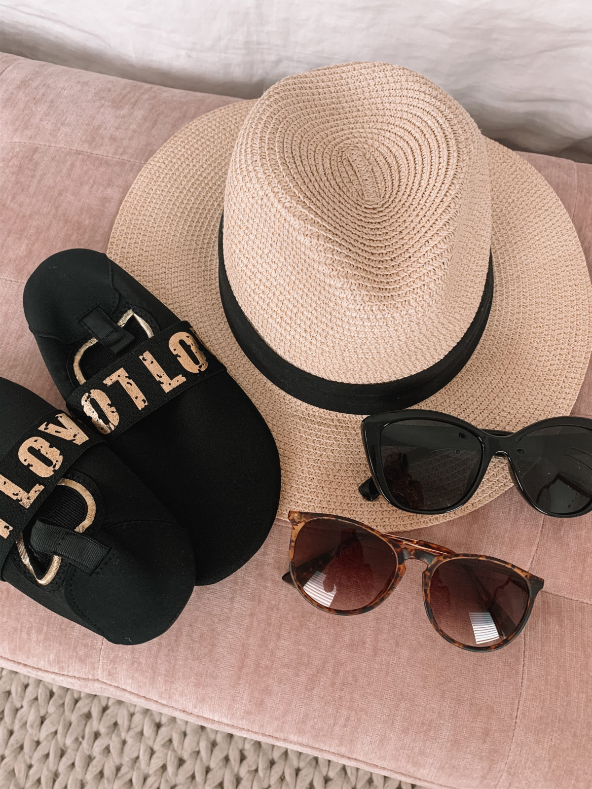 Beach Hat, Love Water Shoes, Tortoise Shell Glasses, Jackie-O Sunglasses