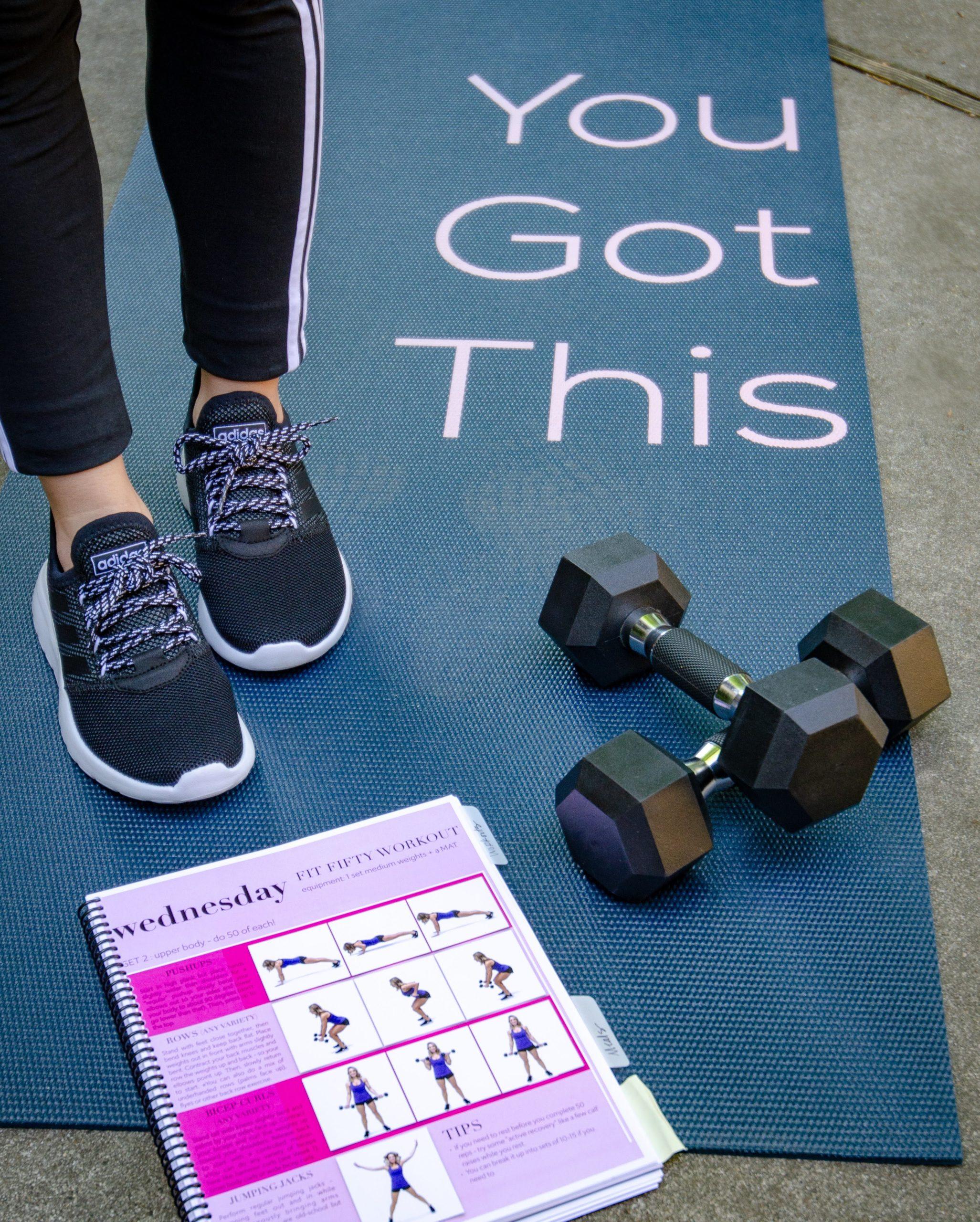 Adidas Sneakers, Yoga Mat, Dumbells, Get Fit Done Guide