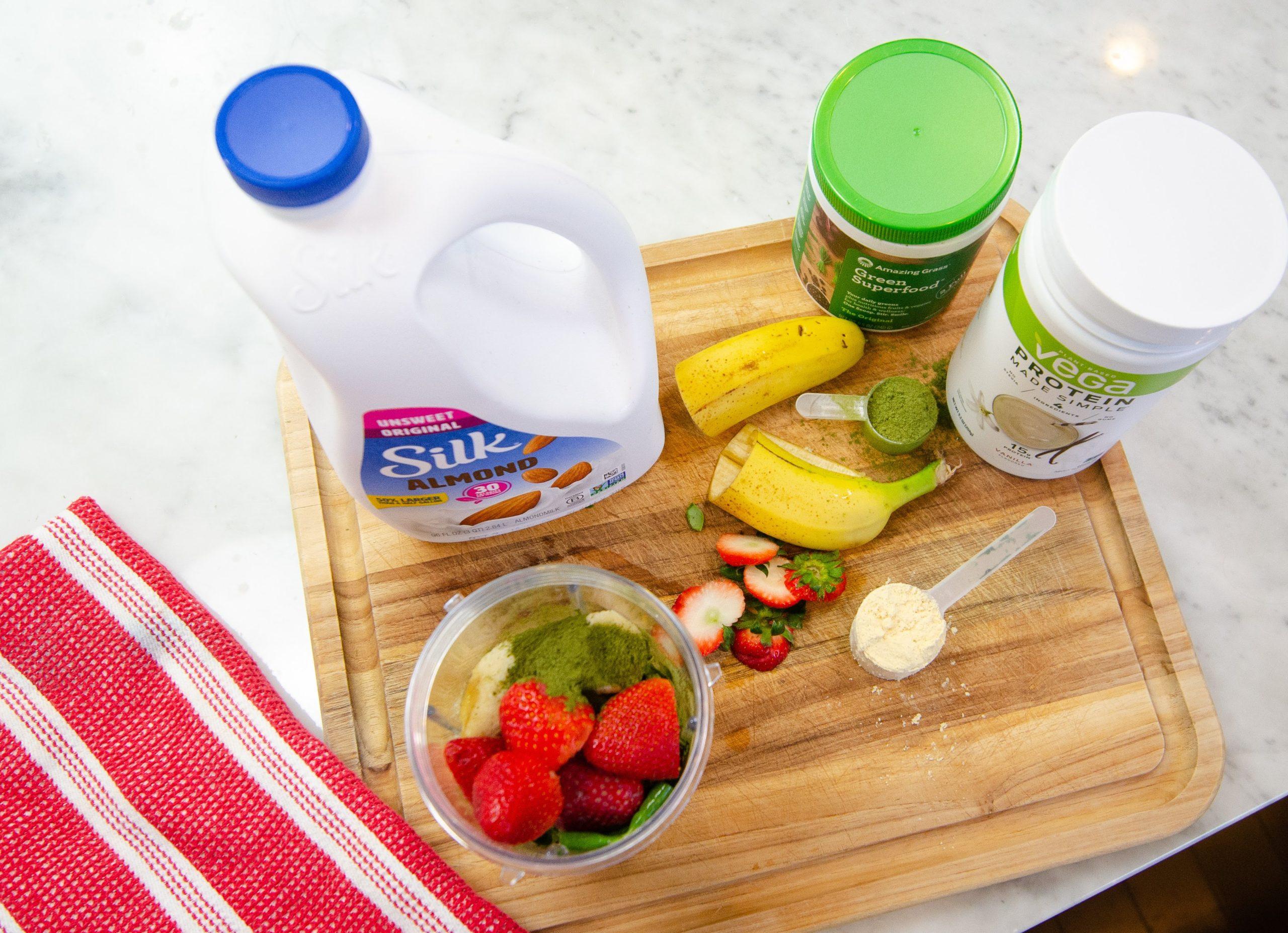 Silk Almond Milk, Vega Protein Powder