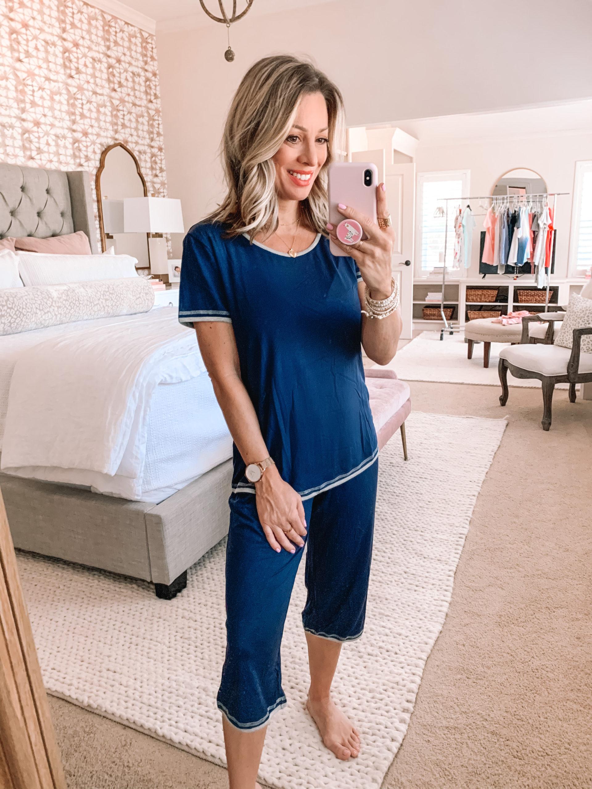 Amazon Haul - Navy Capri Pajama Set