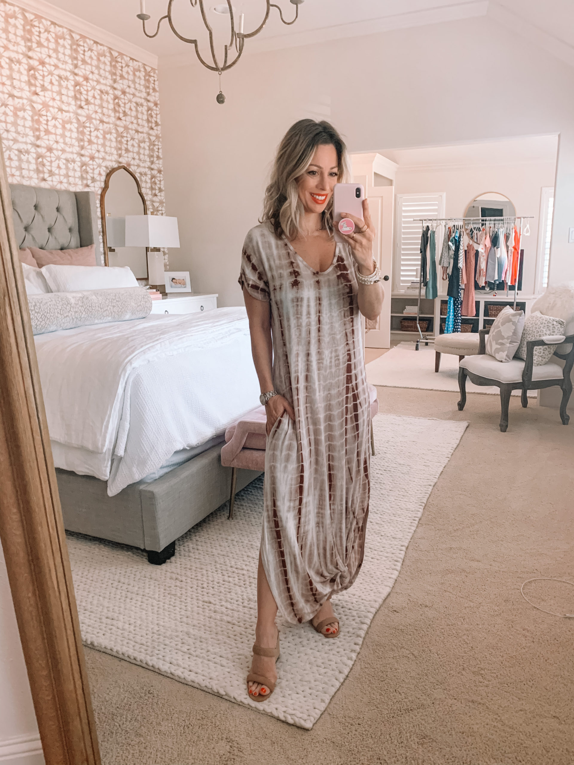Amazon Fashion - Tie Dye Maxi dress, White Sandals