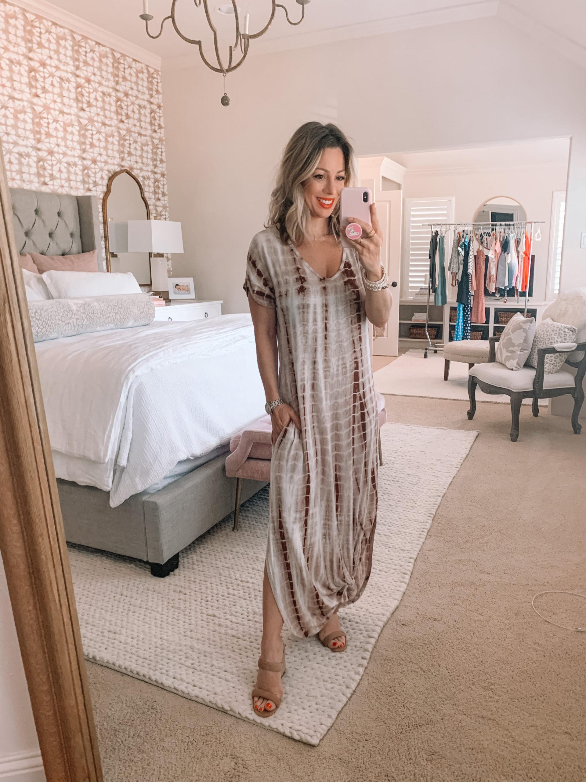 Amazon Fashion - Tie Dye Maxi dress, White Sandals