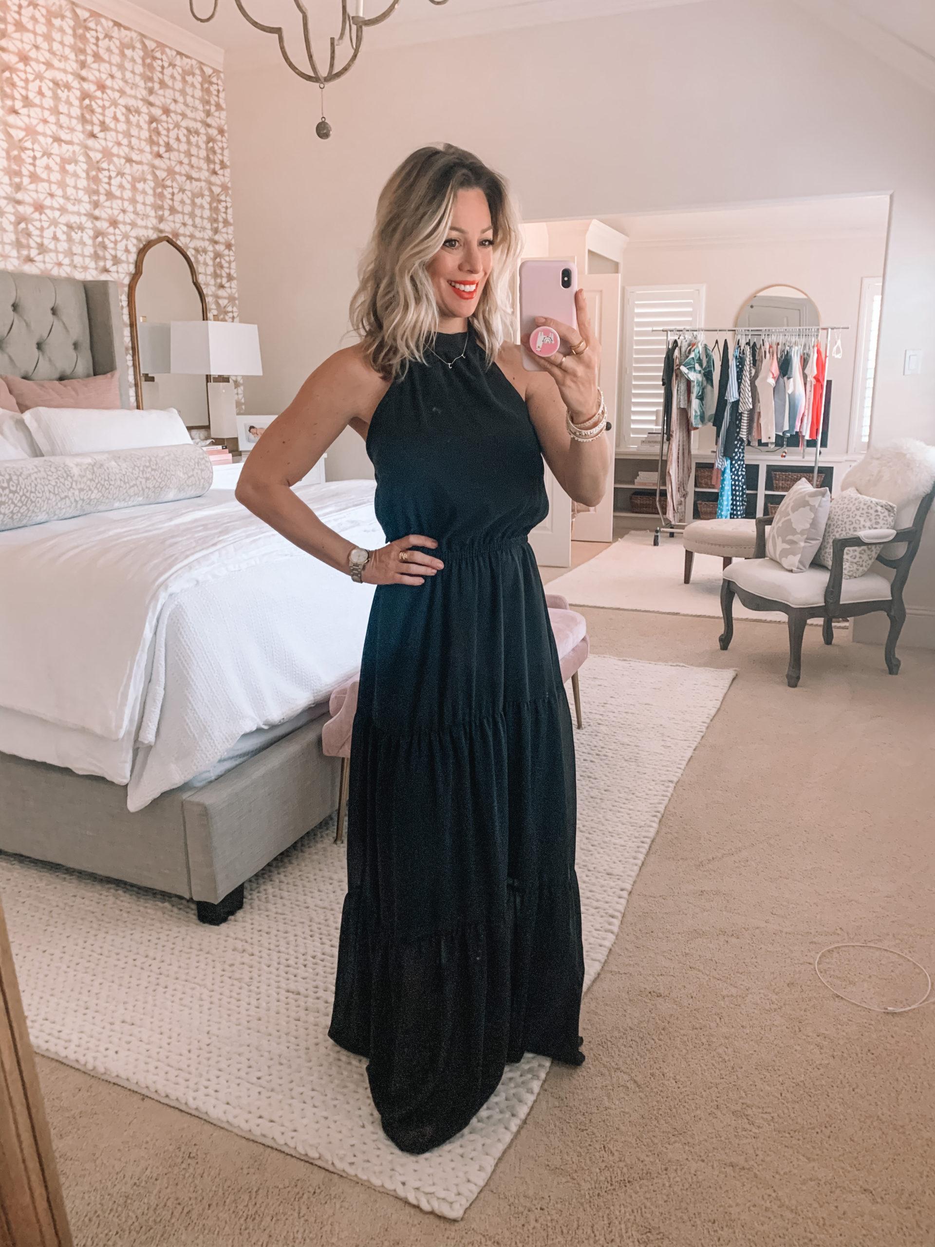 Amazon Fashion - Black Tiered Maxi Dress