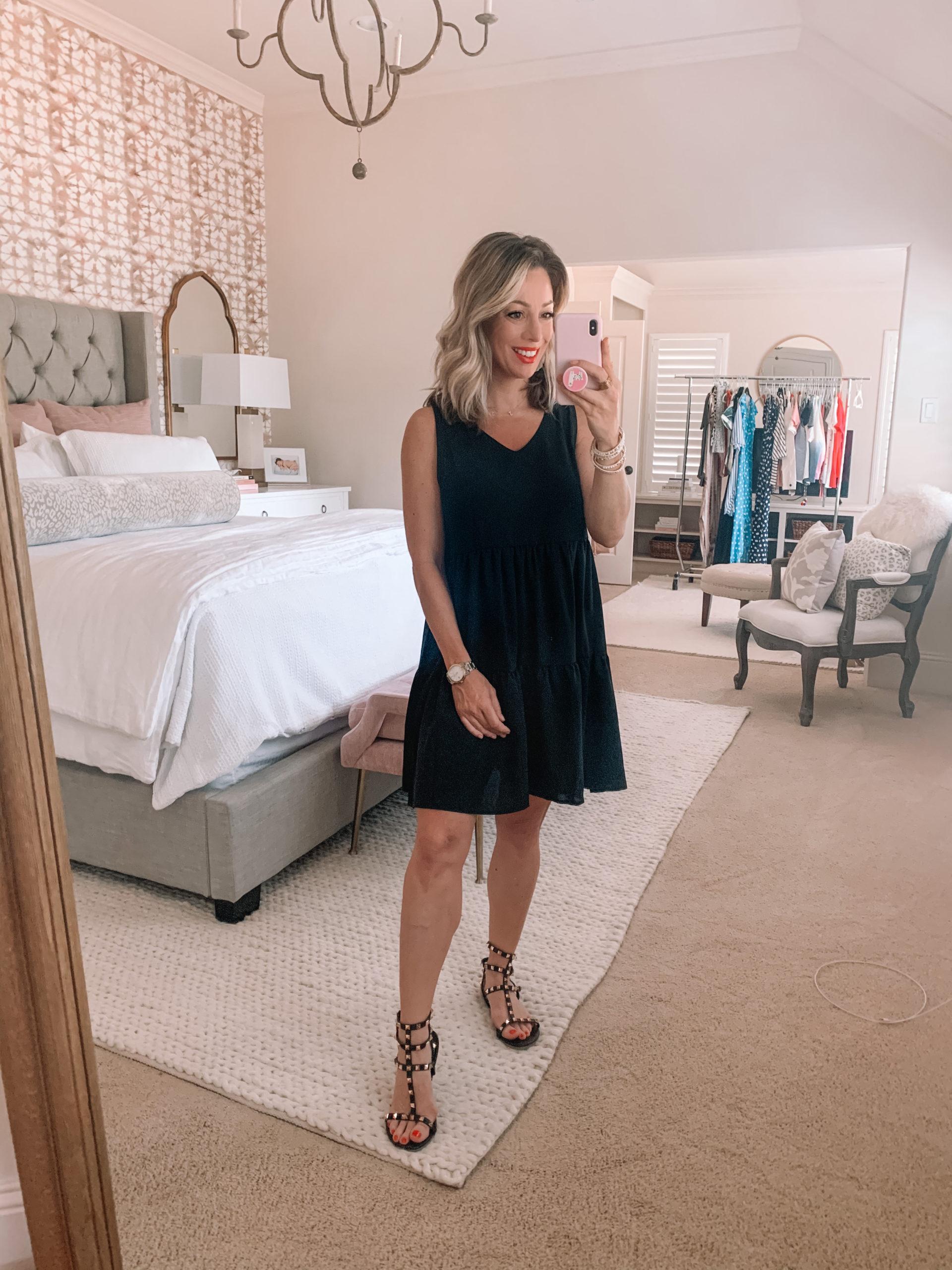 Amazon Fashion - Black V-Neck Shift Dress, Studded Sandals