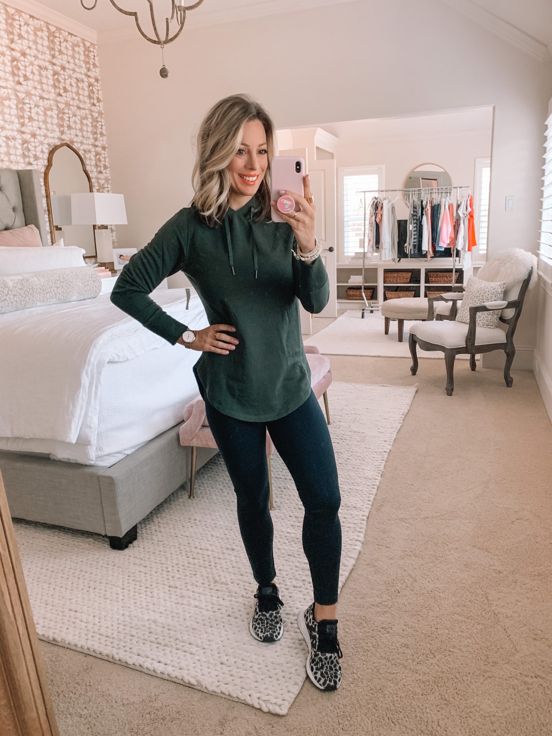 Amazon Haul - Green Hoodie, Black Leggings, Leopard Sneakers