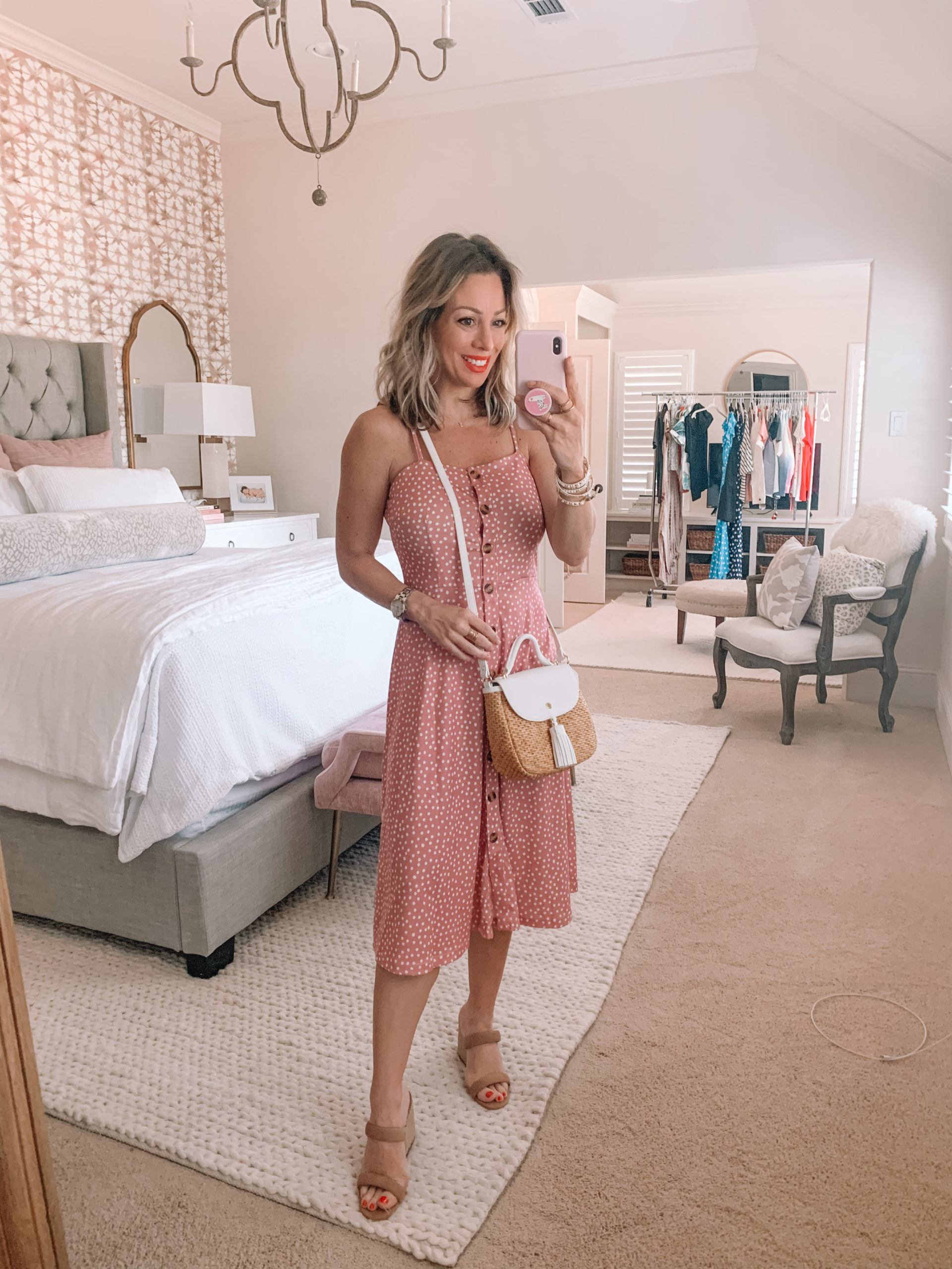 Amazon Fashion - Spaghetti Strap Polka Dot Midi Dress, Wedges, Woven Crossbody