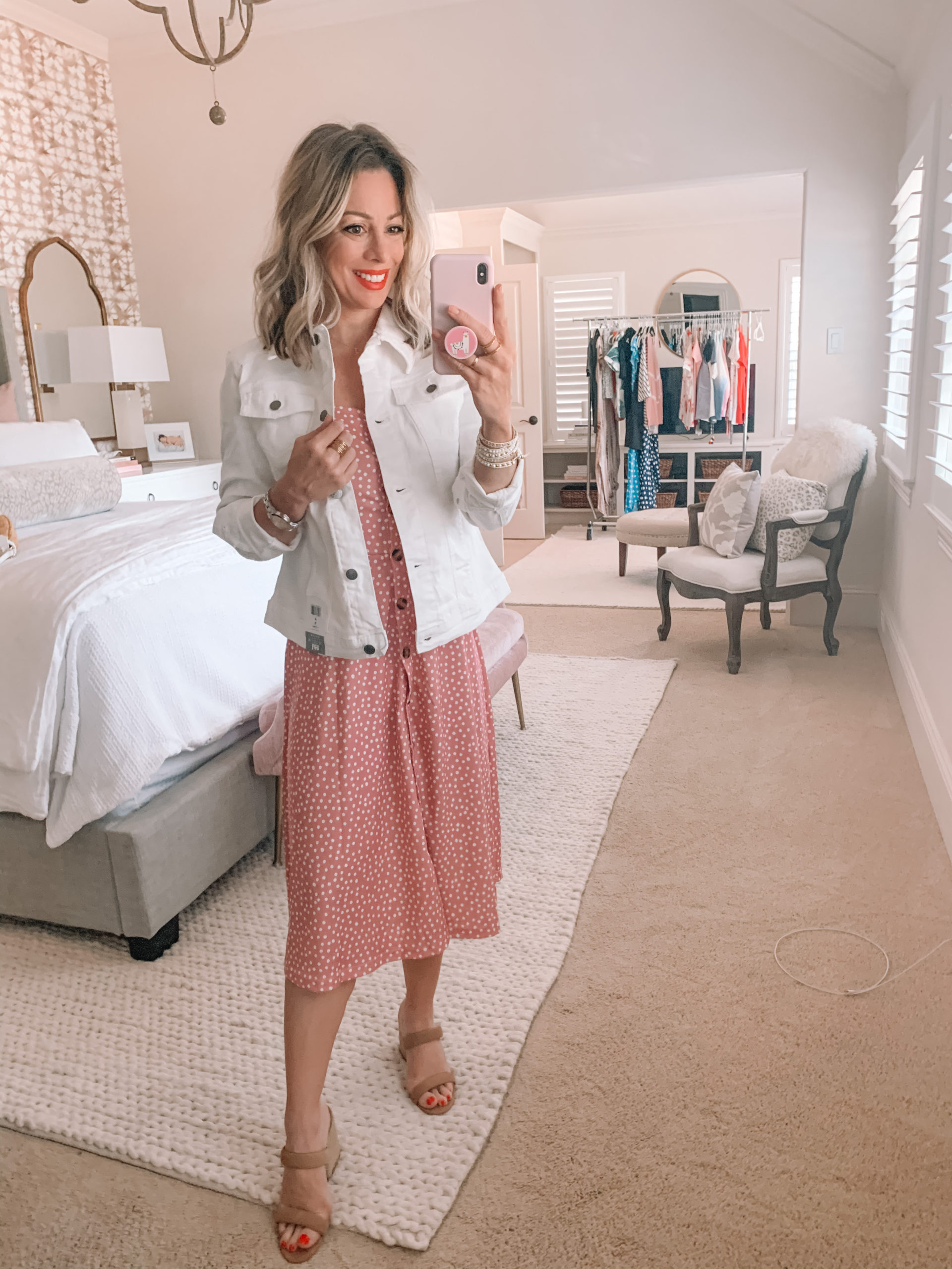 Amazon Fashion - White Denim Jacket, Spaghetti Strap Midi Dress, Wedges