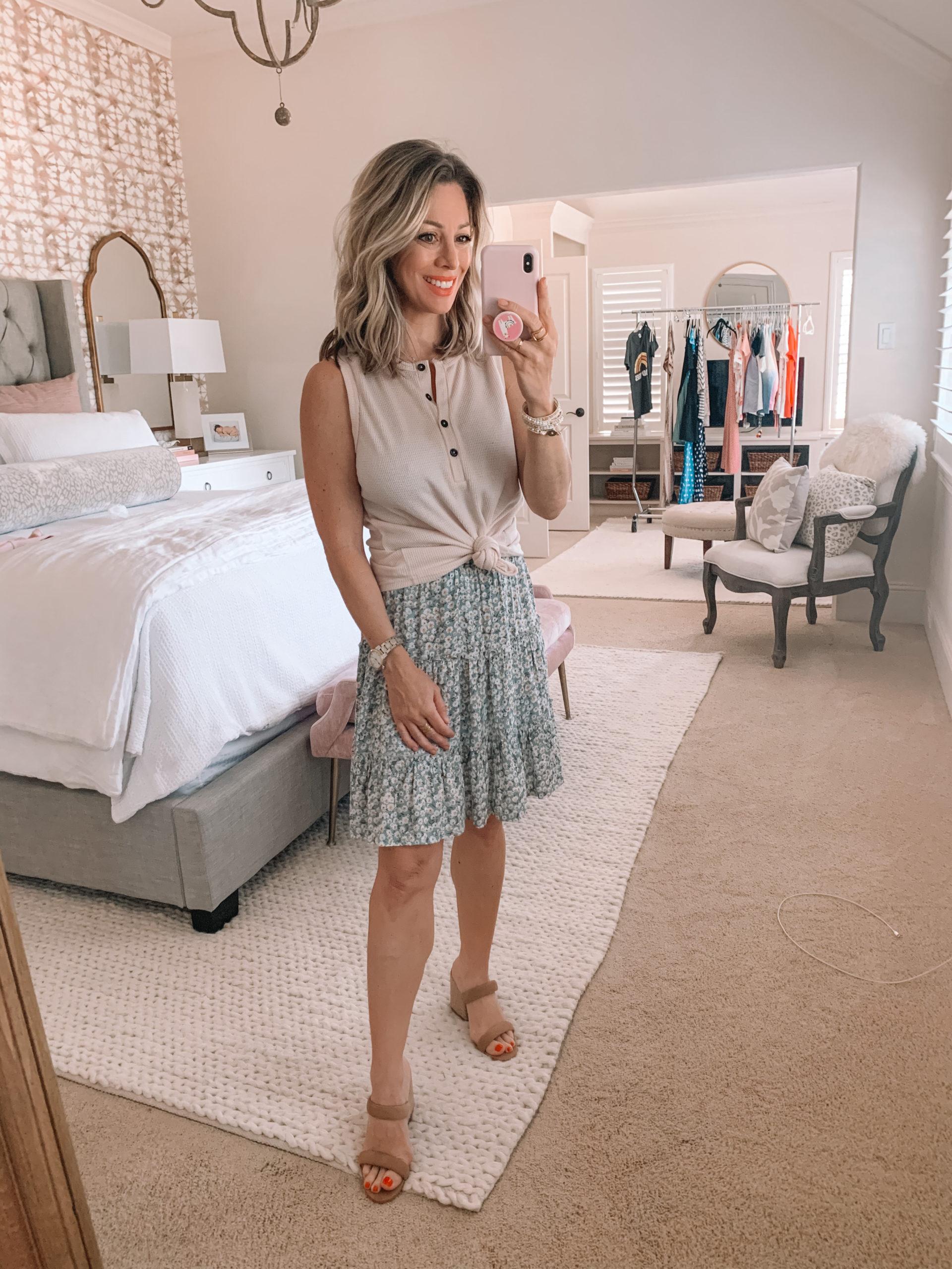 Amazon Fashion - Henley Tank, Floral Mini Skirt, Strappy Wedges