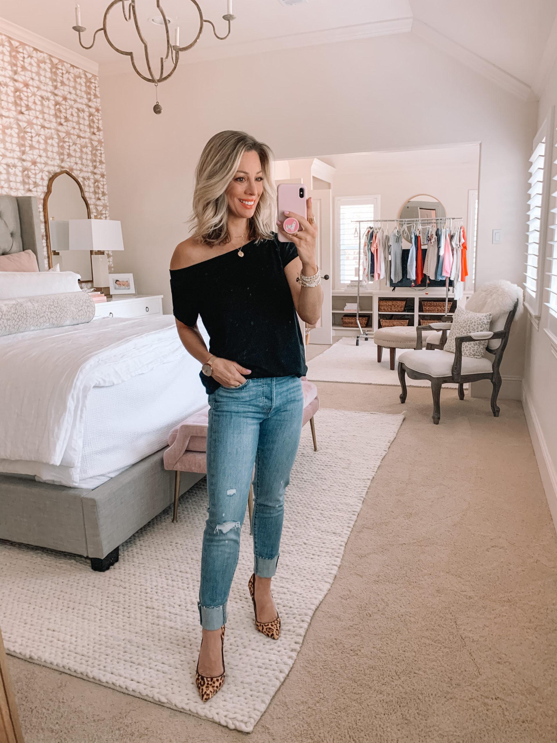 Amazon Haul - Black Short Sleeved Off the Shoulder Tee, Skinny Jeans, Leopard Heels