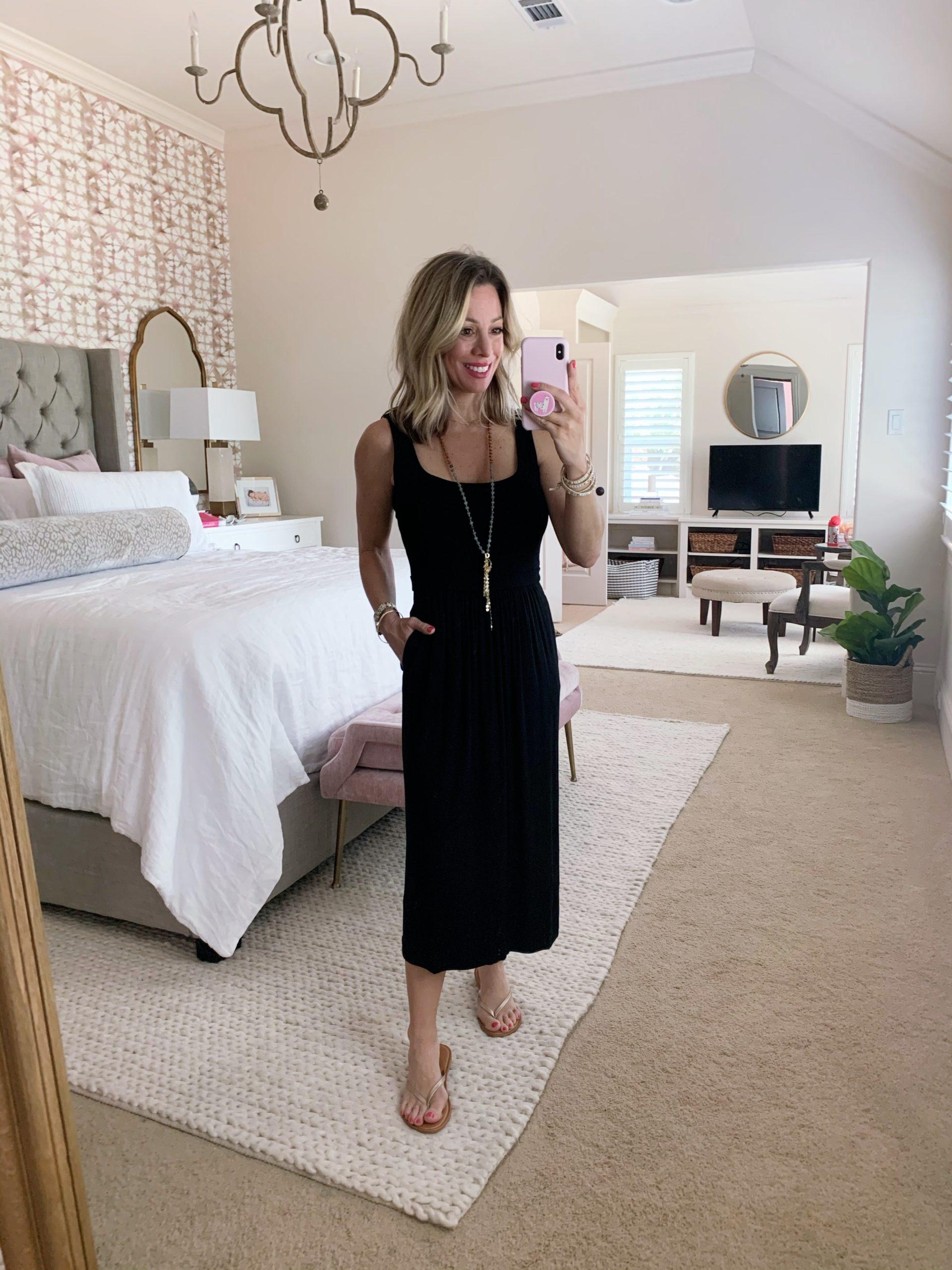 Jersey Knit Tank Dress, Gold Flip Flops, Tassel Necklace