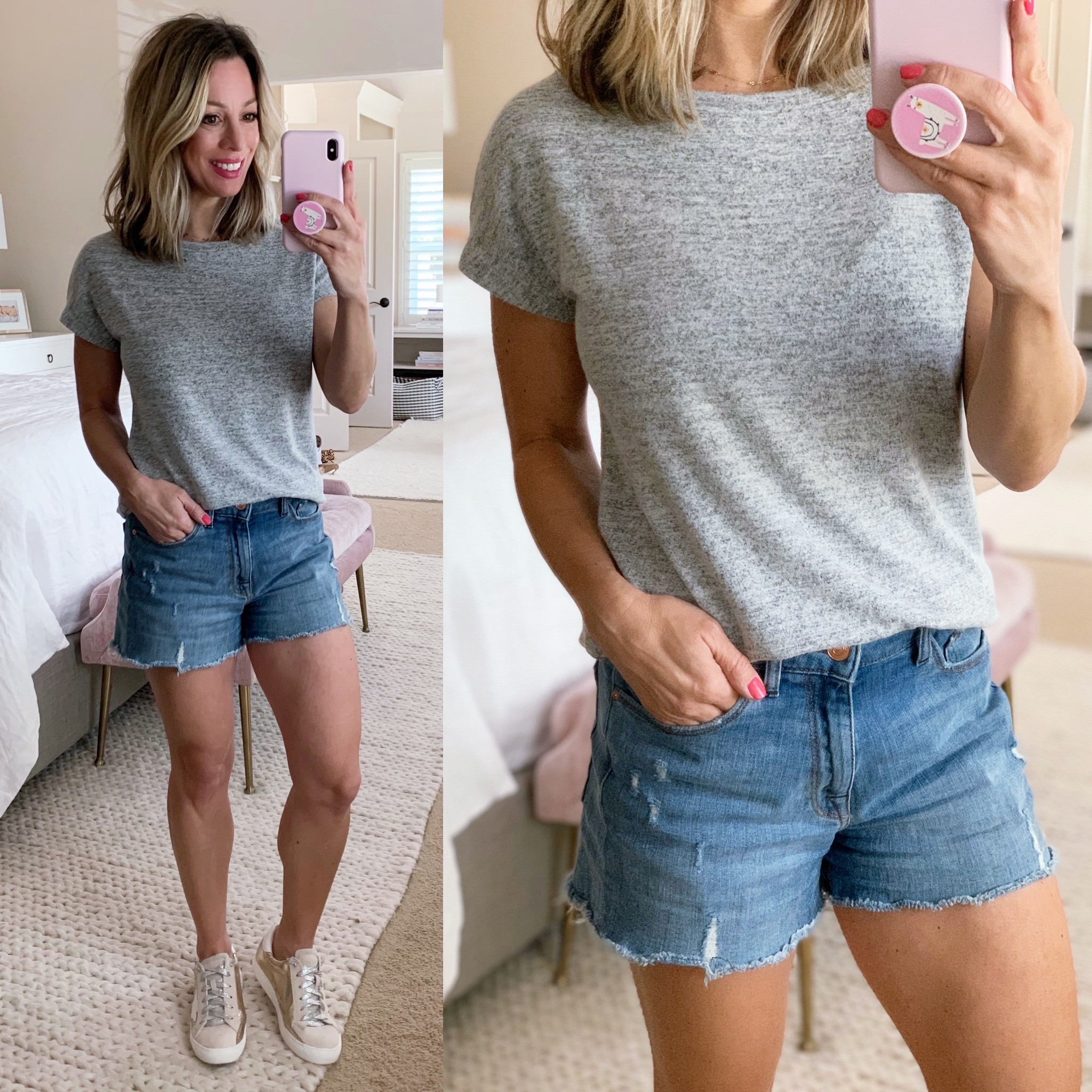 Daily Ritual Gray Tee, Jean Shorts, Golden Goose Dupe shoes