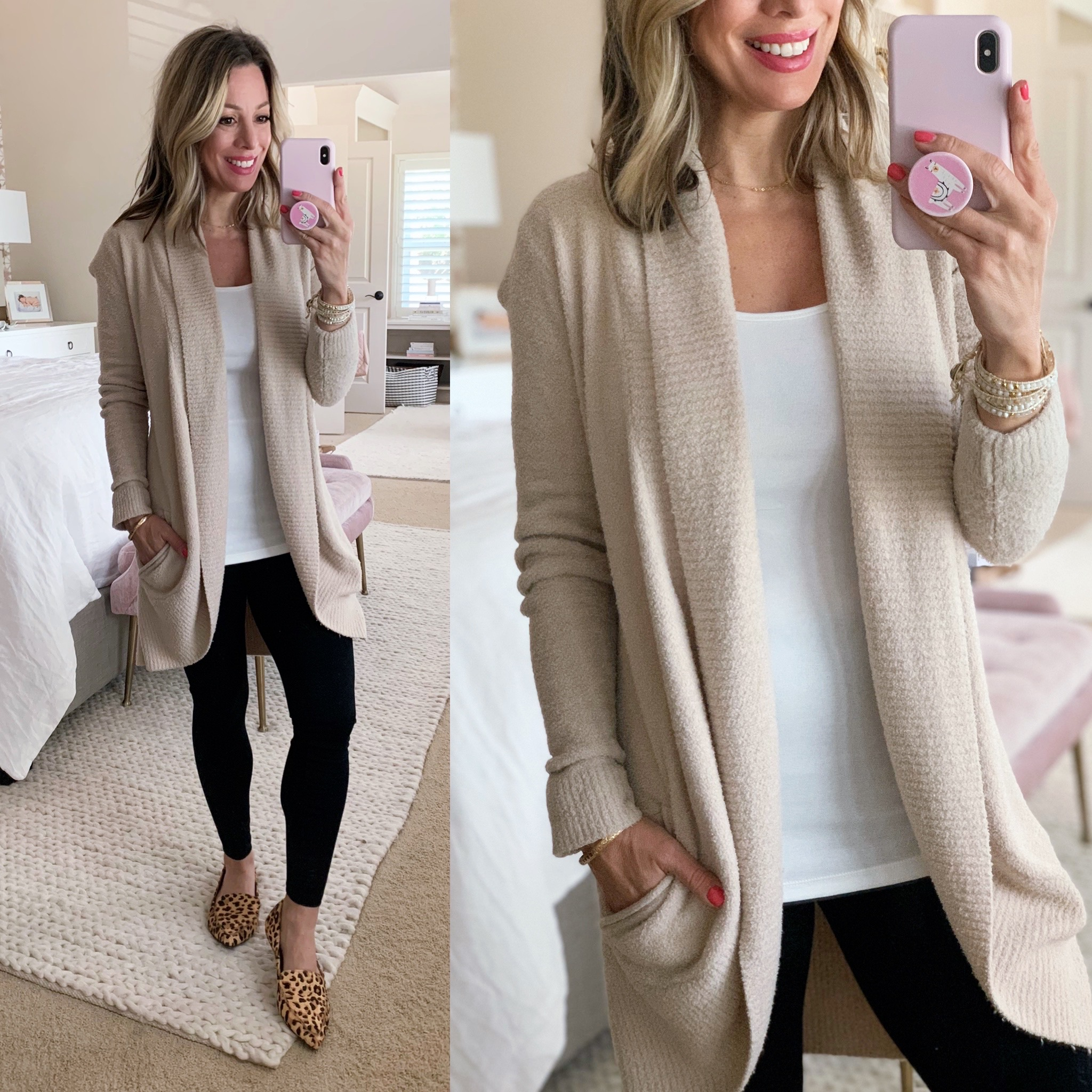 Barefoot Dreams Circle Cardigan, White Cami, Black Leggings, Leopard Flats