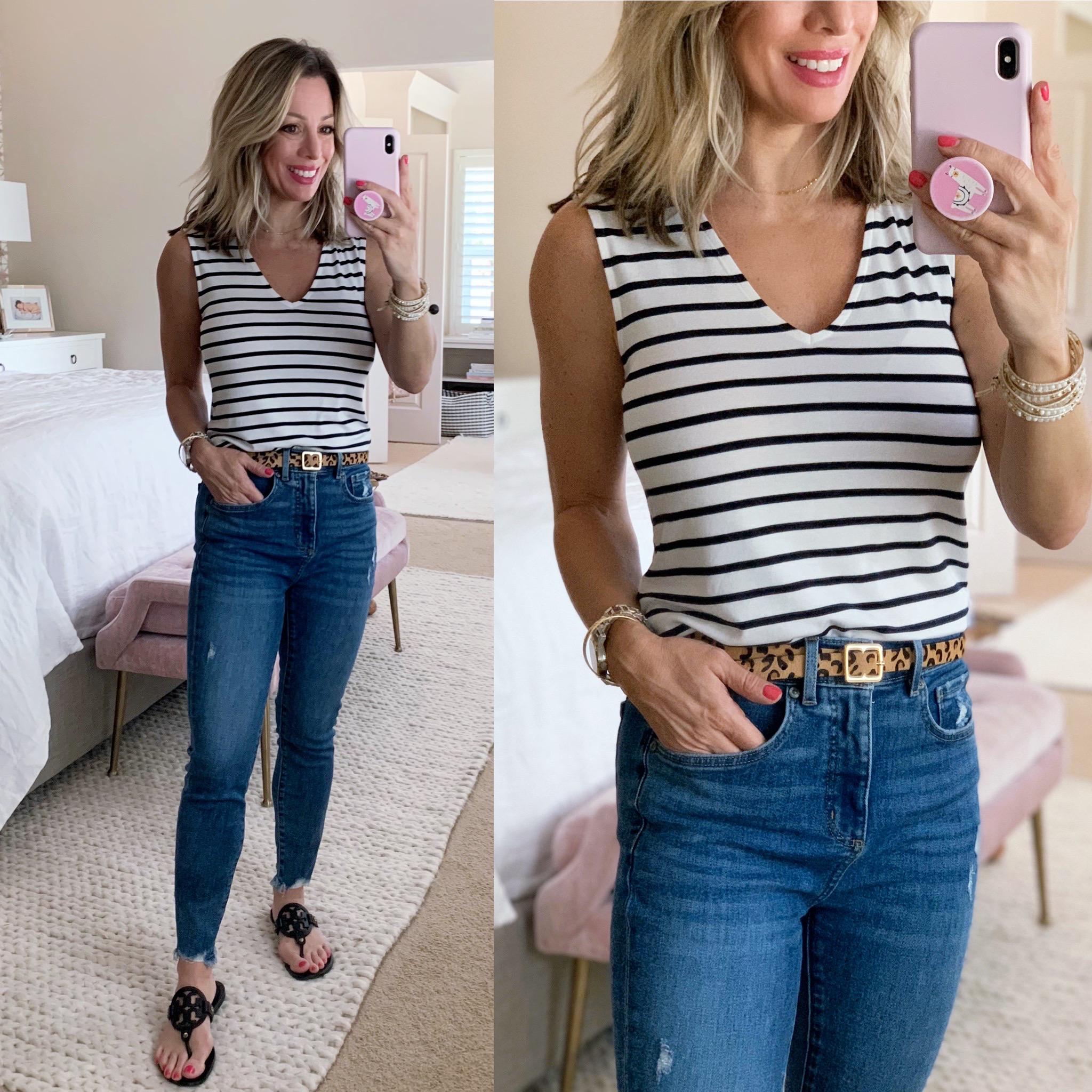 Stripe Tank, Chewed Hem Skinny Jeans, Miller Dupe Sandals, Leopard Belt
