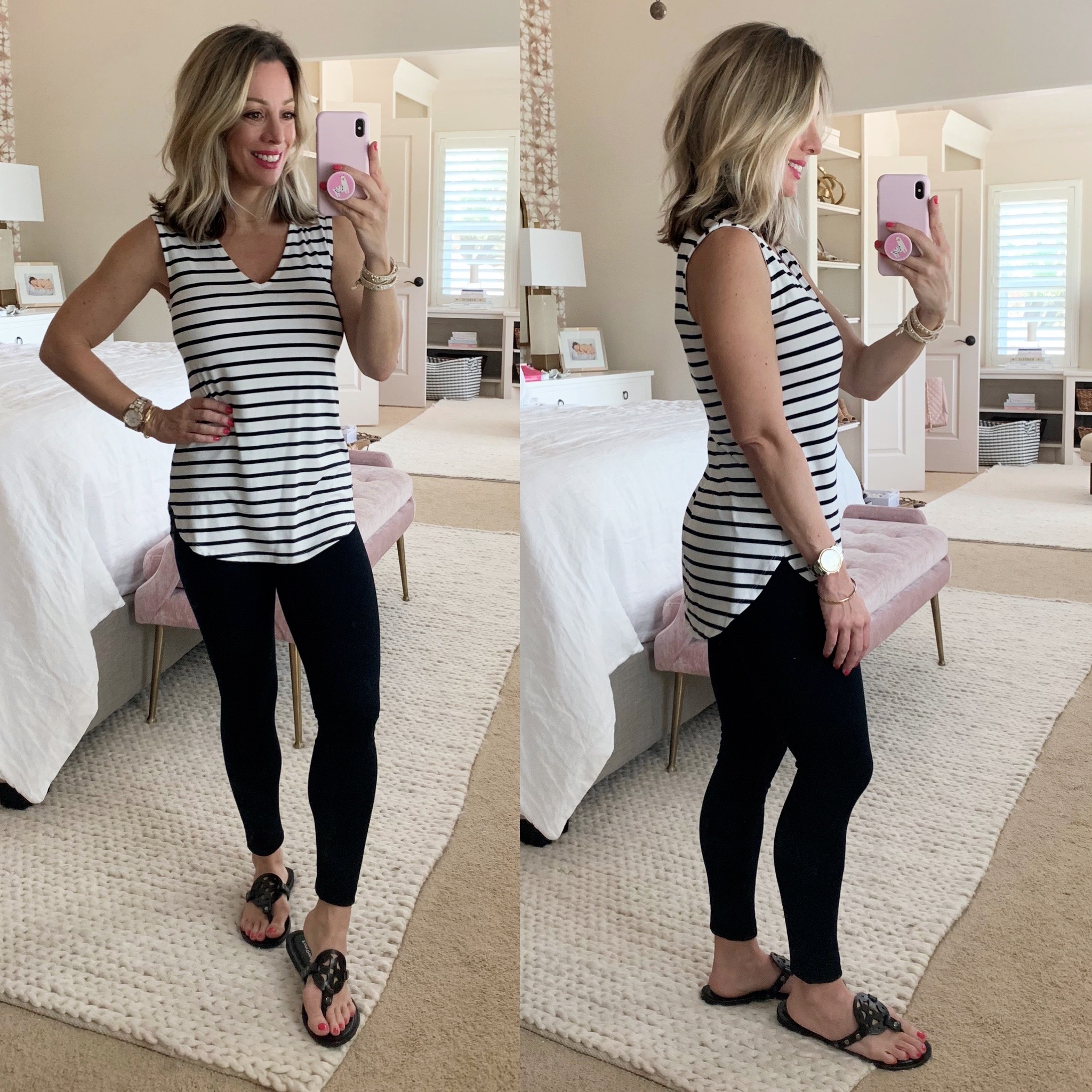 Stripe Tank, Daily Ritual Leggings, Miller Dupe Sandals