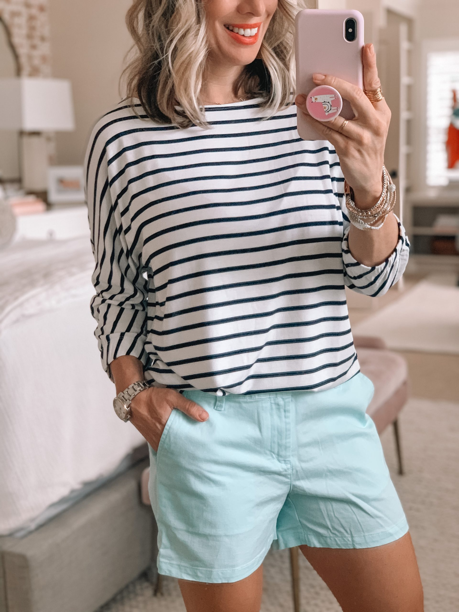 Striped Jersery Bunch Sleeve Top, Chino Shorts