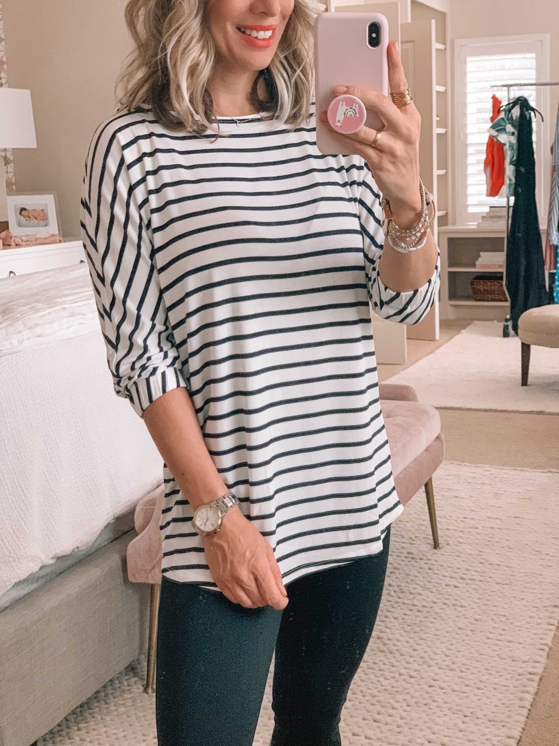 Amazon Fashion - Striped Jersey Bunch Sleeve Top, Ponte Leggings