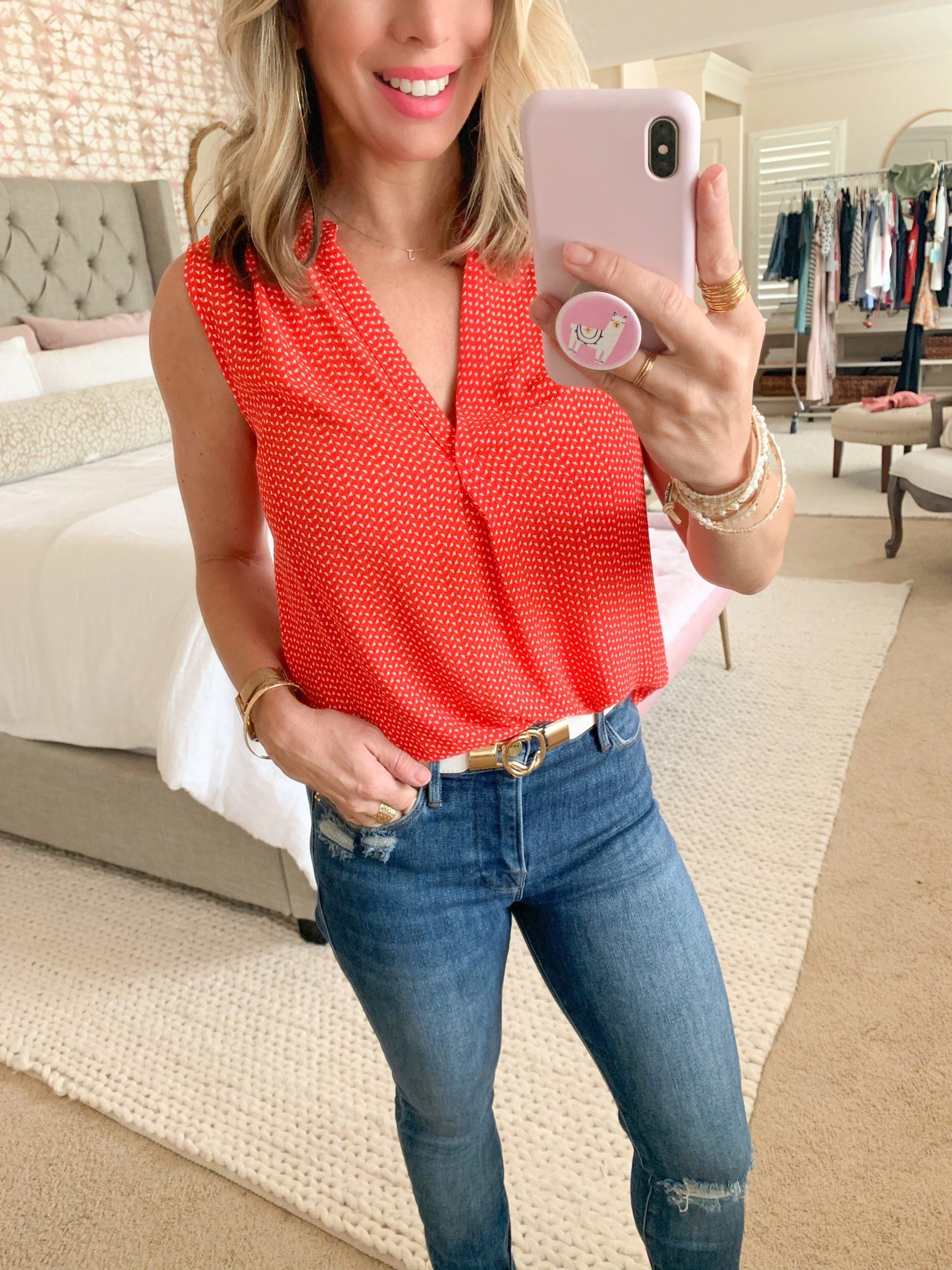 Summer Outfit, Nordstrom, Vince Camuto Sleeveless Blouse, Frame Denim Jeans, White/Gold Belt