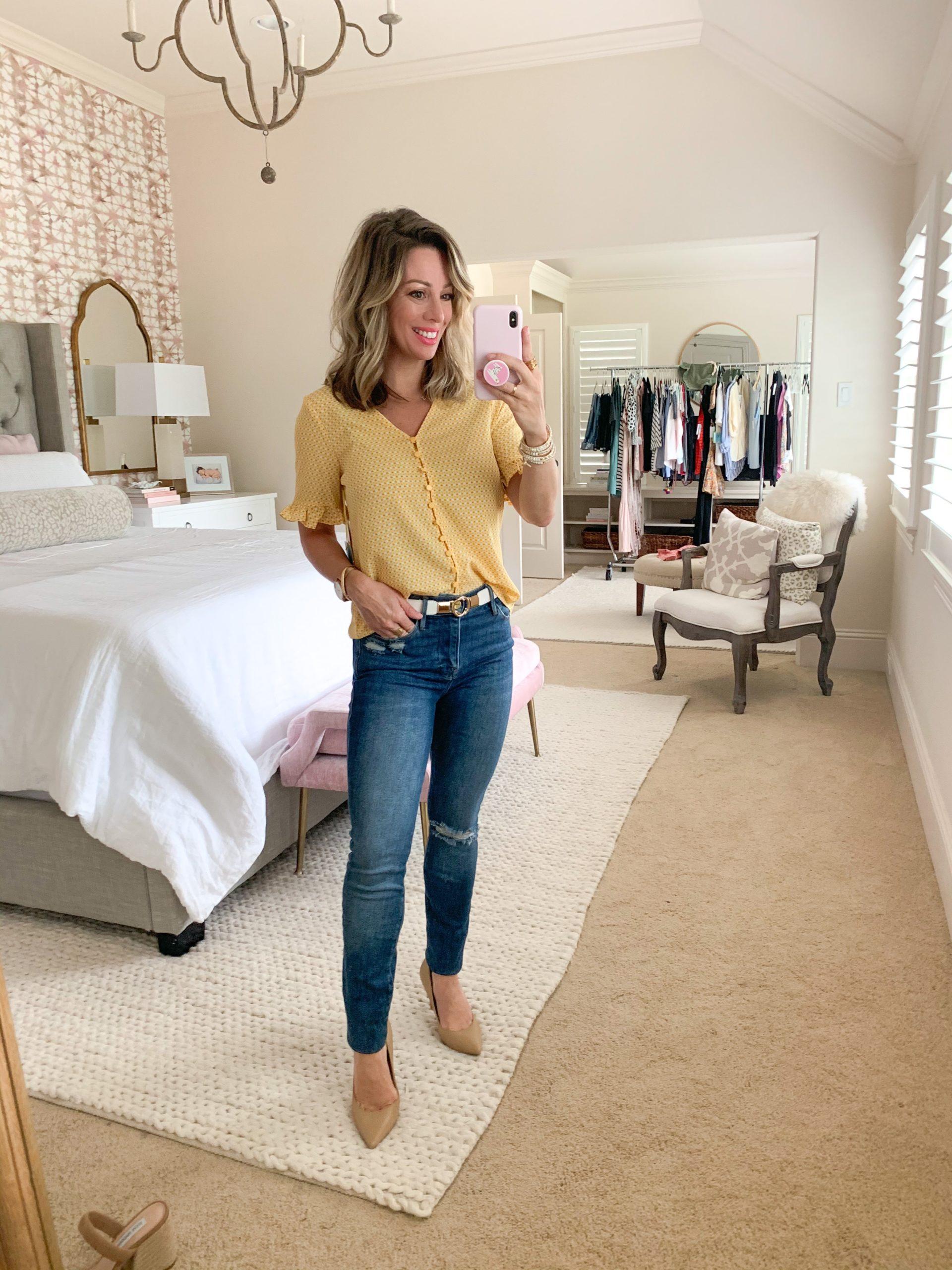 Spring Outfit, Nordstrom, Geo Print Ruffle Sleeve Top, Skinny Jeans, Gold/White Belt, Nude Heels